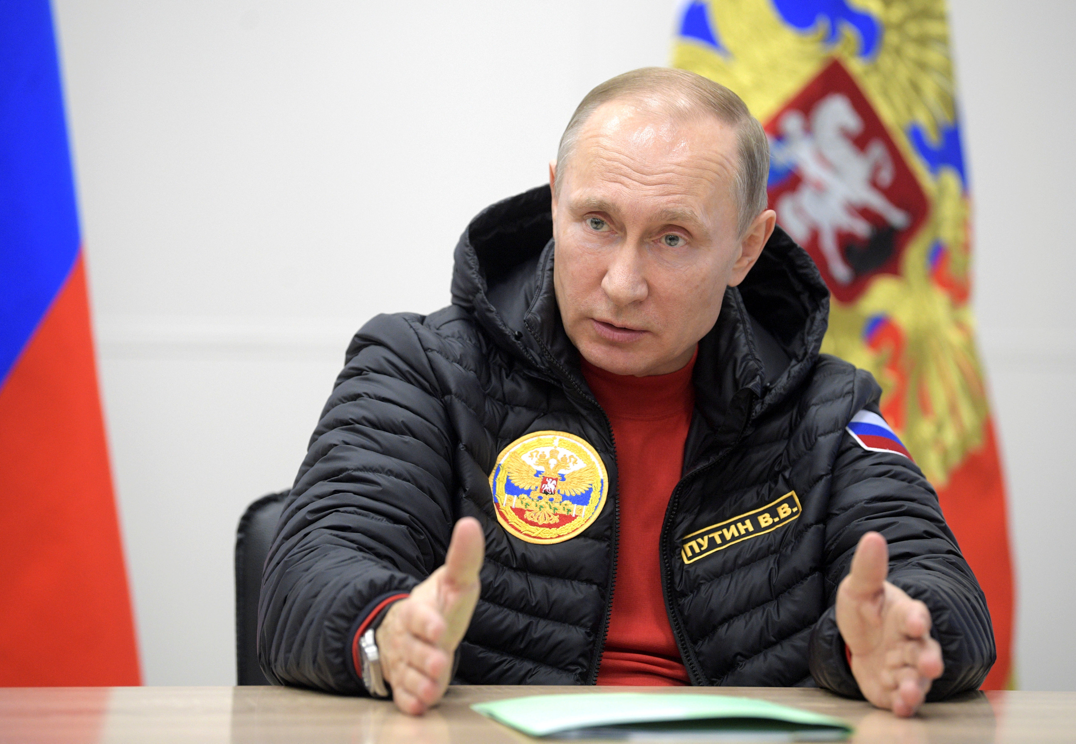 Russian President Vladimir Putin speaks during a meeting on integrated development of the Arctic at a military base in Alexandra Land in remote Arctic islands of Franz Josef Land, Russia, on March 29, 2017. (Sputnik/Alexei Druzhinin/Kremlin via Reuters)