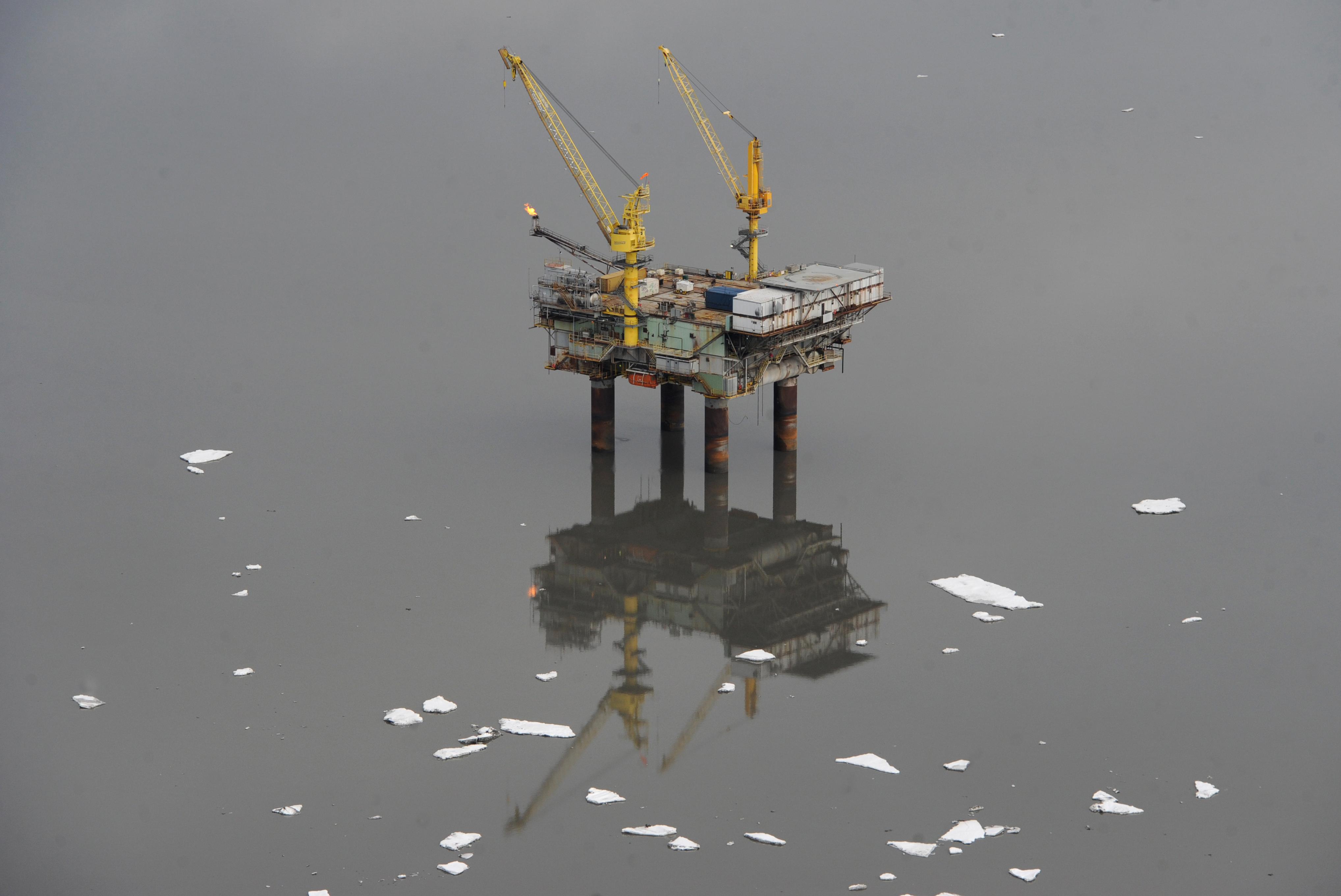 A sheen of oil was discovered at about 11:20 a.m. Saturday by workers on Hilcorp's Anna Platform located about 45 miles southwest of Anchorage near the village of Tyonek, on the west side of Cook Inlet. Pan ice and calm water were visible around the platform on Sunday, April 2, 2017. (Bill Roth / Alaska Dispatch News)