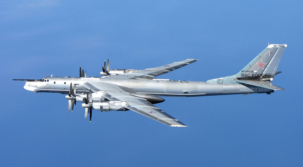 A Russian Tu-95 Bear 'H' photographed from a RAF Typhoon Quick Reaction Alert aircraft (QRA) with 6 Squadron from RAF Leuchars in Scotland, 2014. (Royal Air Force / U.K Ministry of Defense via Wikimedia Commons)