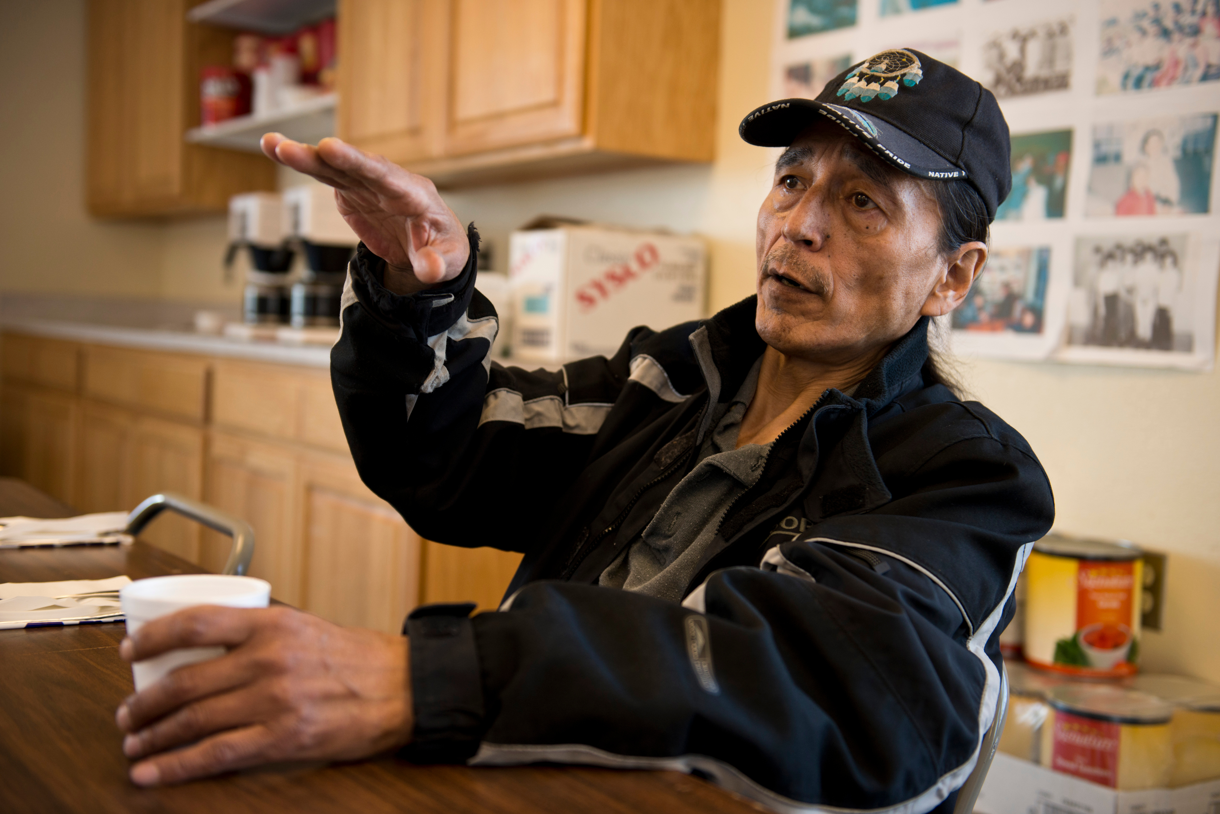 "Delbert Pungowiyi, president of the Native Village of Savoonga, said the early retreat of sea ice from the island this spring places walrus hunting challenges on the village. ""It's having a powerful impact on our food security,"" he said. (Marc Lester / Alaska Dispatch News)"