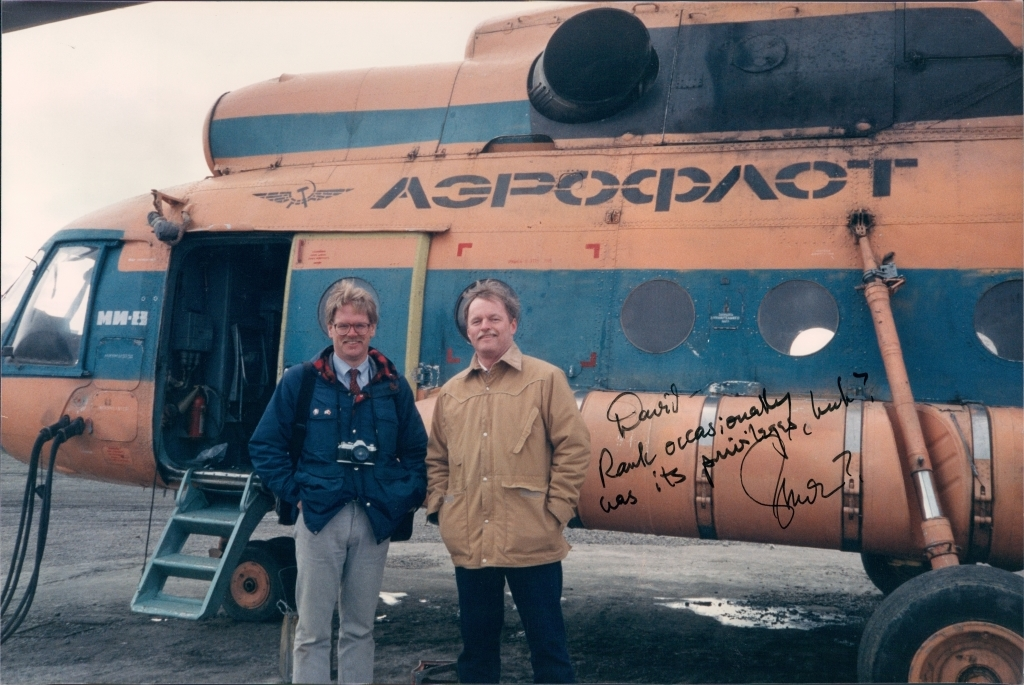 In 1989, author David Ramseur, left, joined Gov. Steve Cowper on a trade mission to the Russian Far East, shown here in the village of Uelen. (Courtesy David Ramseur)