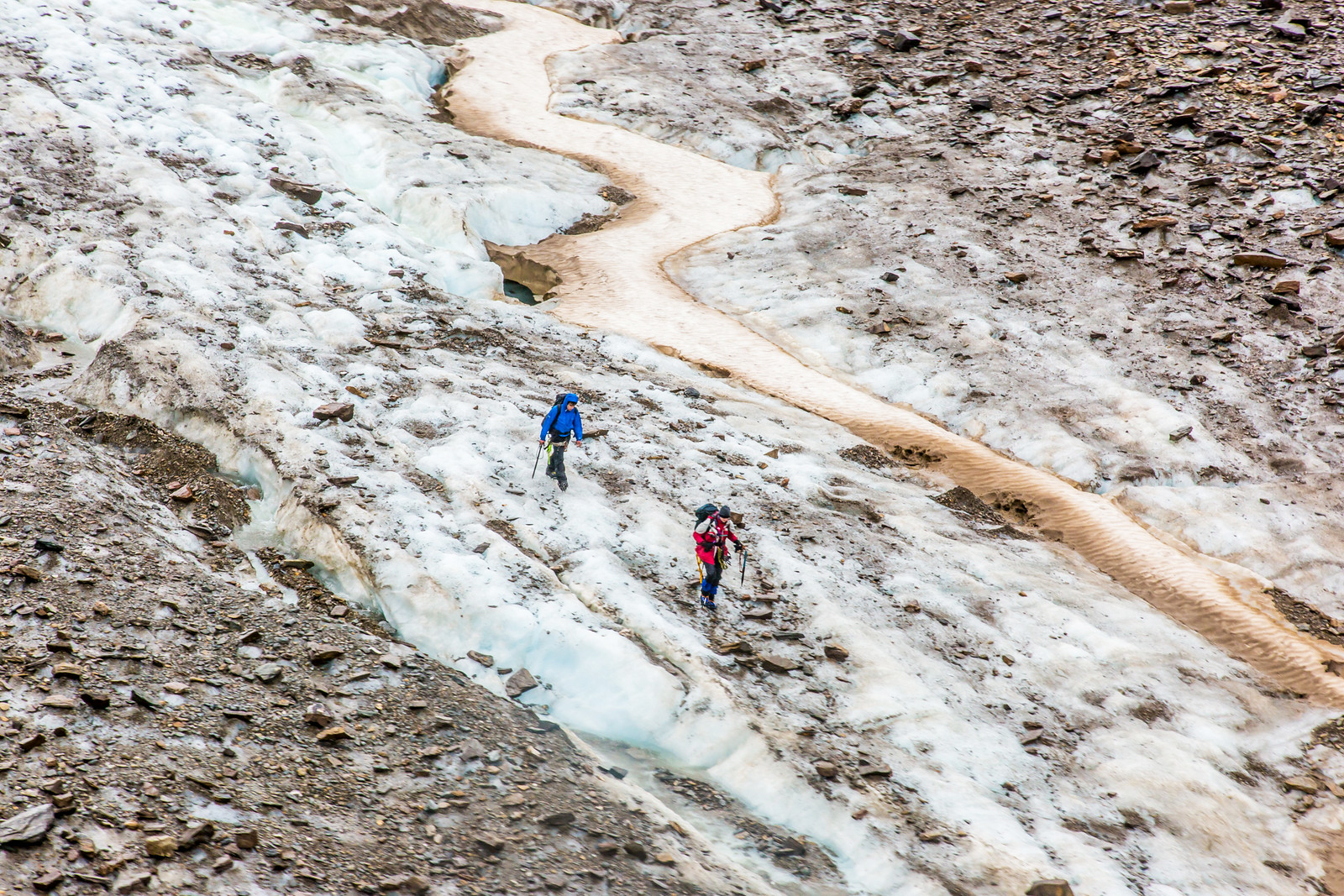 UAF researchers hike between the glacier mass balance stakes on Jarvis Glacier to measure how much snow and ice melted over the summer in 2014. Jarvis Glacier is in the Alaska Range south of Delta Junction. (Todd Paris / UAF)