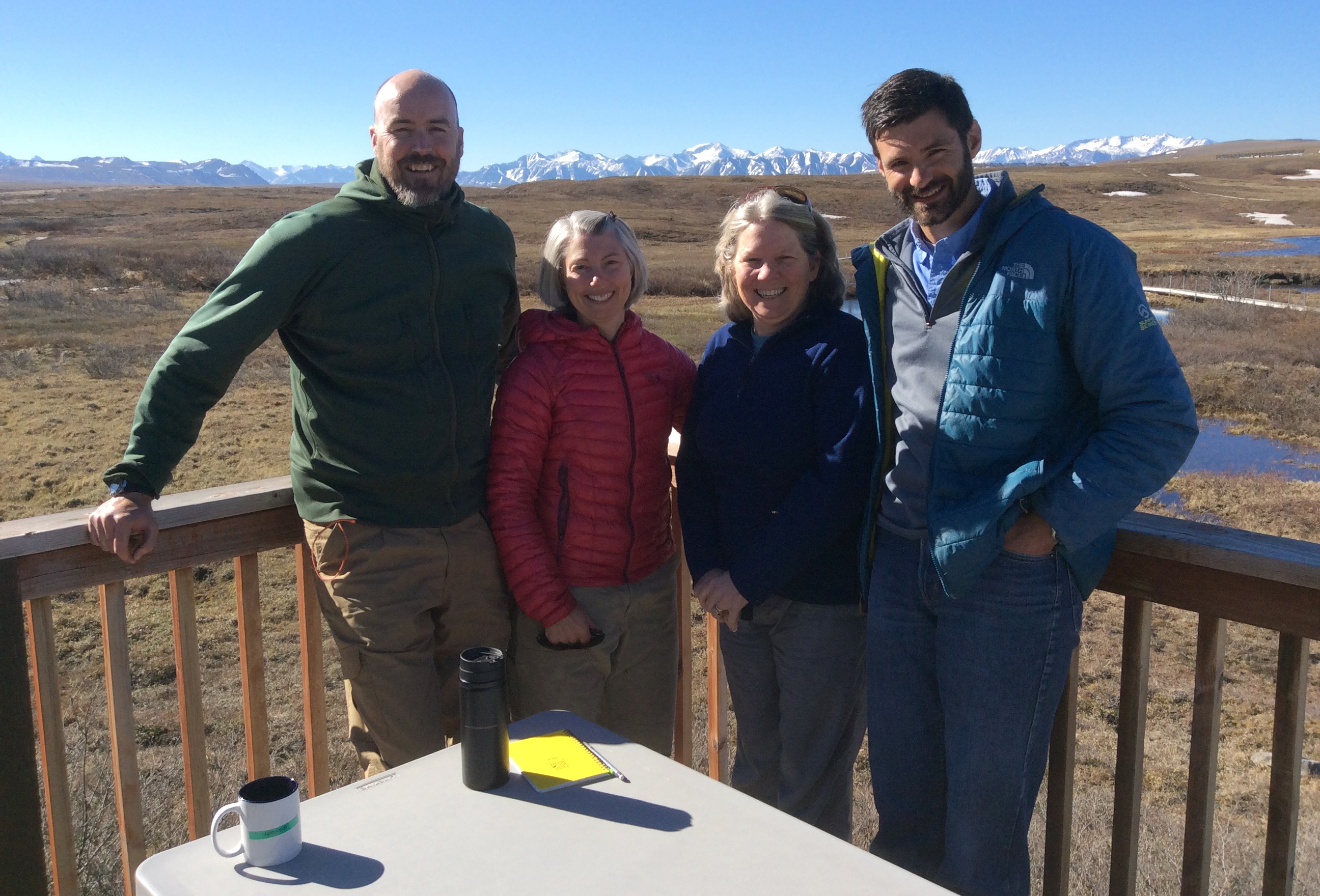Cam MacKenzie, left, Heidi Golden, Linda Deegan and Mark Urban gather for a picture at Toolik Field Station. (Courtesy Heidi Golden)