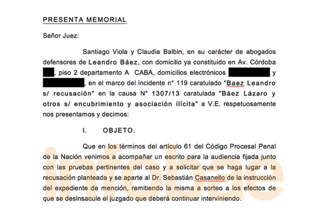 Descargue el PDF de la recusación al juez Sebastián Casanello