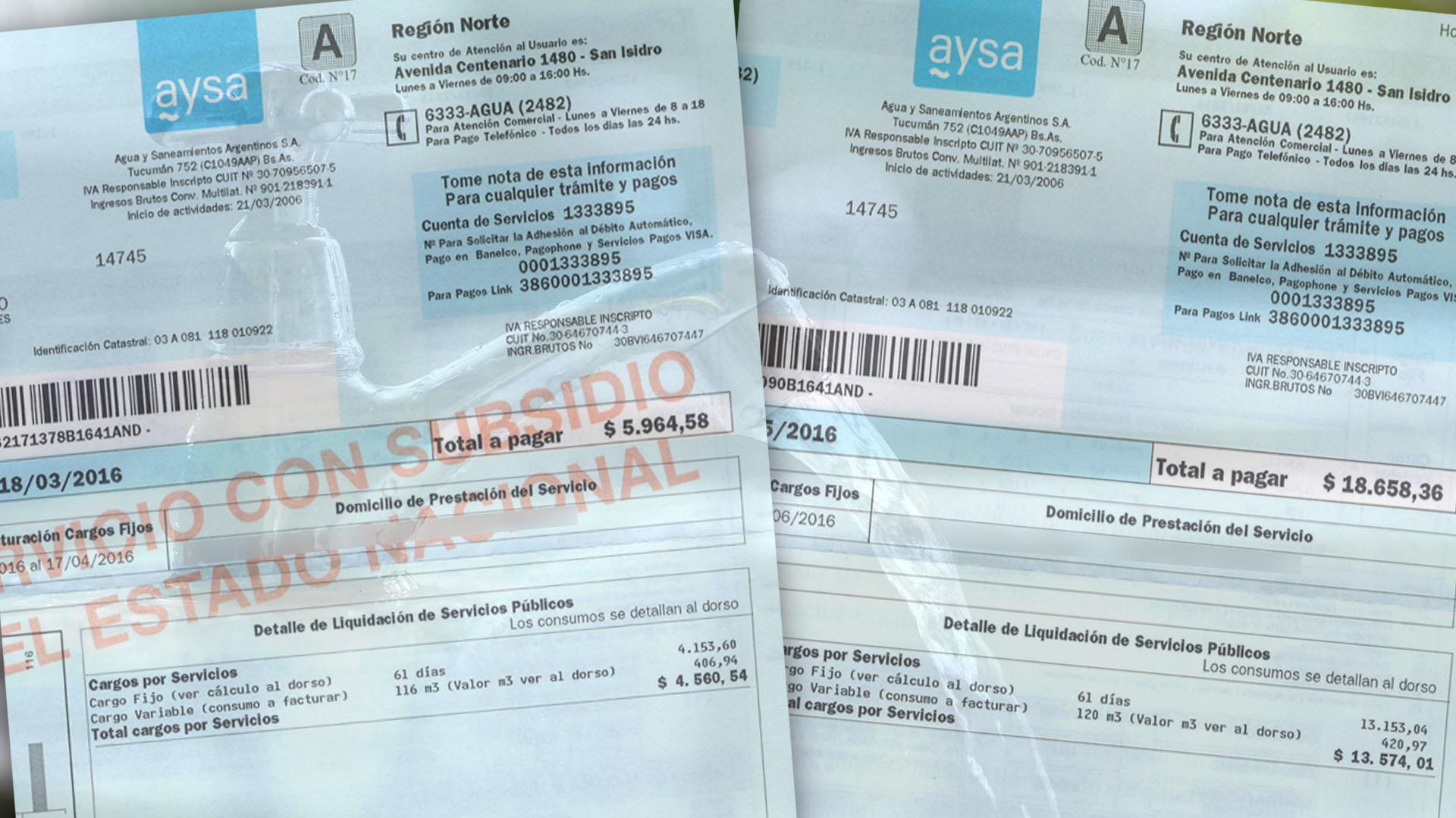 Hace dos meses, la factura de agua era de $5.964,58. En junio se disparó a $18.658,36