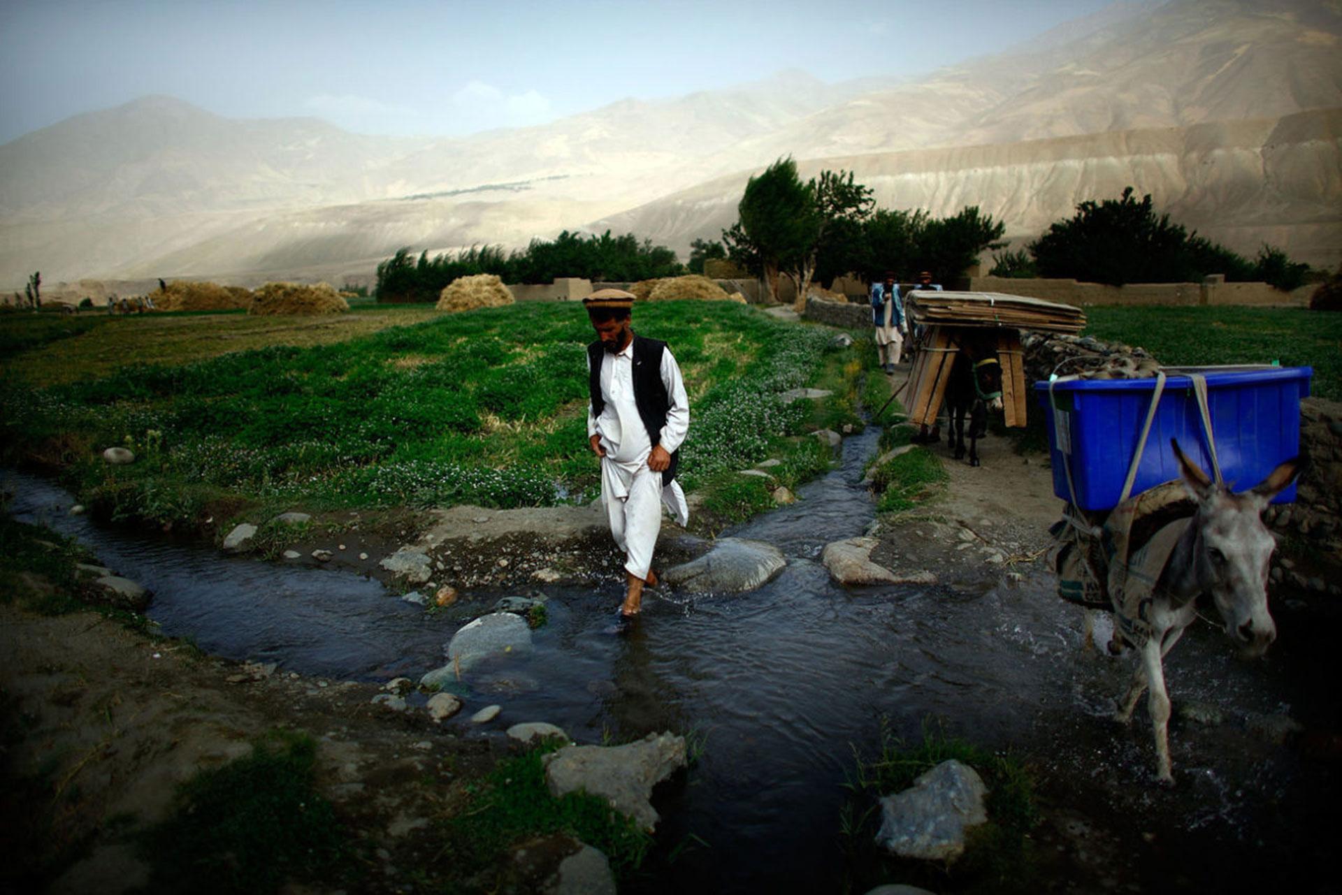 Día de elecciones en Afganistán (2009). La cámara de Gilkey capturó el momento en que urnas y material electoral es transportado por burros y oficiales, en la provincia de Badakhshan