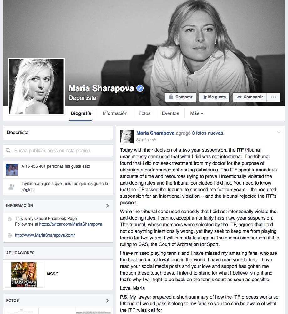 Sharapova comunicó en su perfil oficial de Facebook que apelará la sanción de la ITF