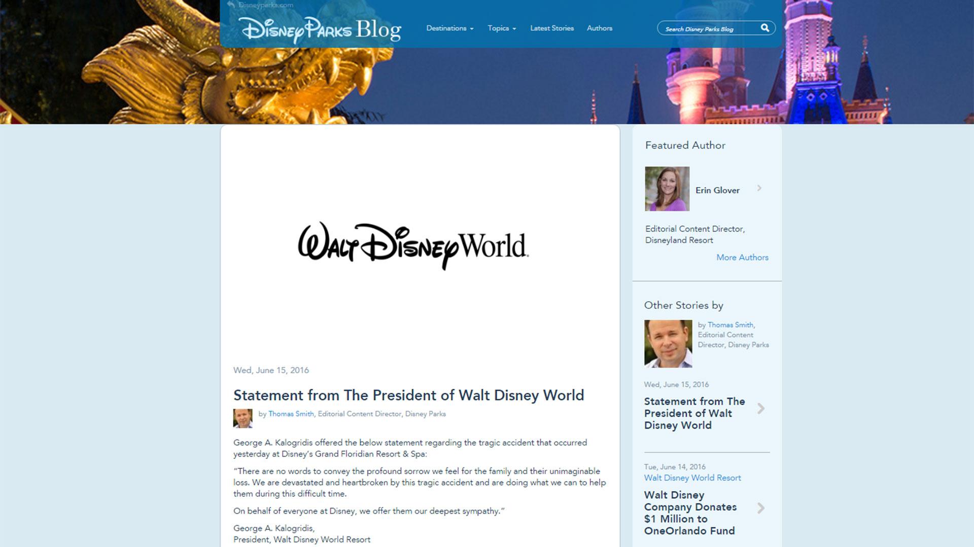 El comunicado de Disney: frío y formal, no hace mención a las evidentes fallas de seguridad del parque