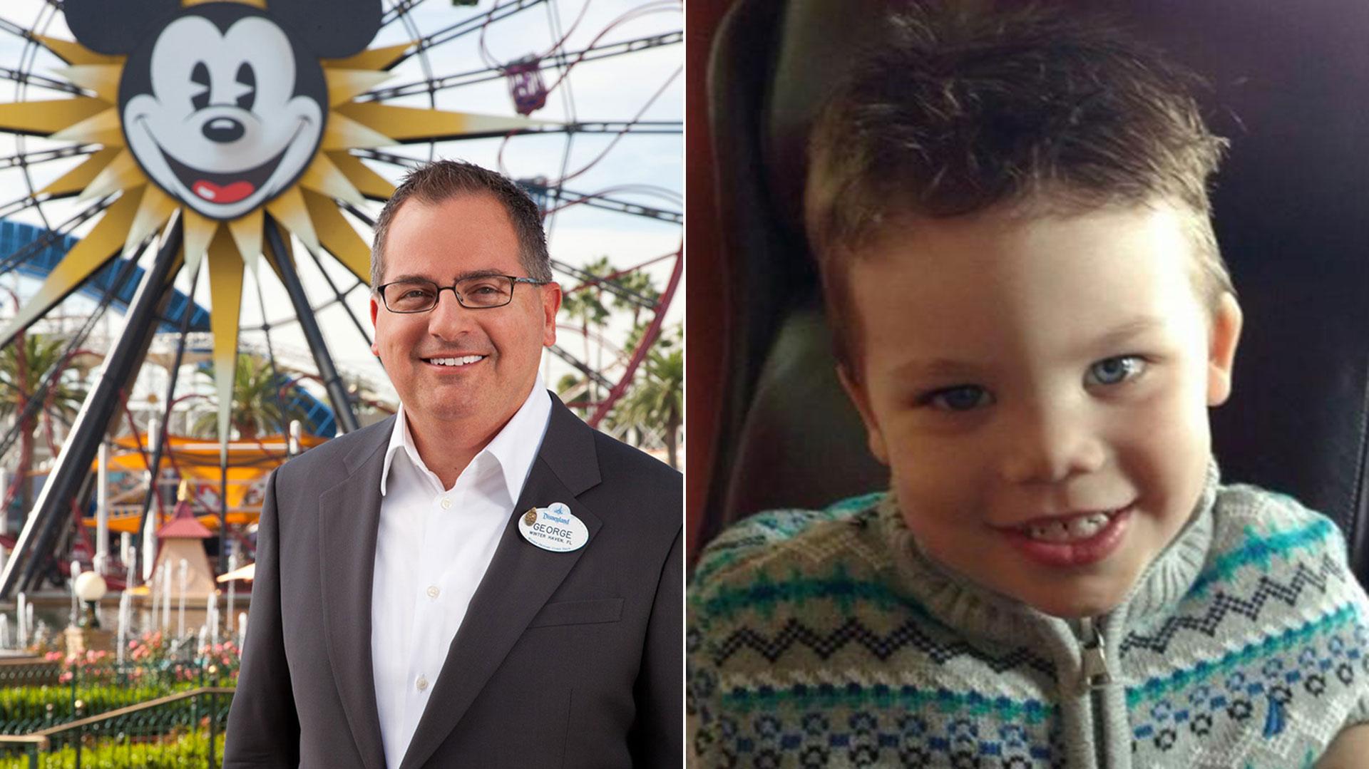 George A. Kalogridis, presidente de Walt Disney World y el pequeño Lane Grave, víctima de las laxas medidas de seguridad del complejo hotelero de Magic Kingdom