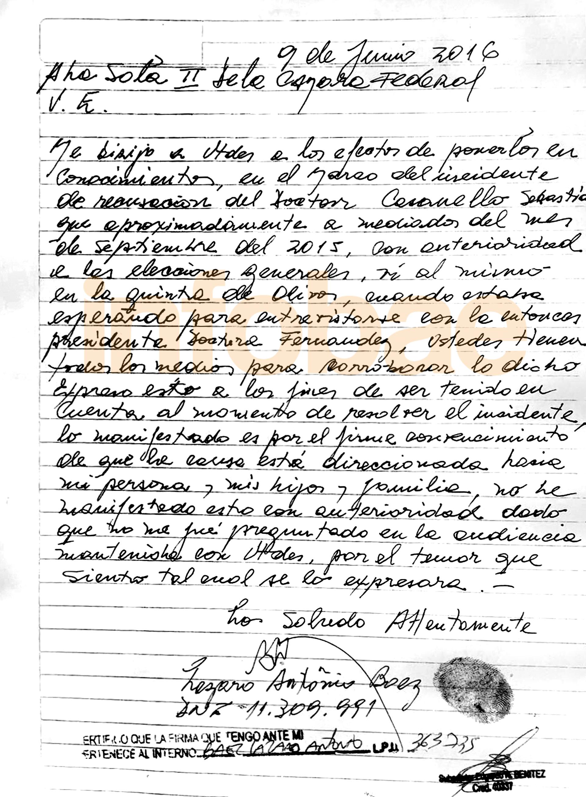 La carta manuscrita que Lázaro Báez envió a la Cámara Federal en la que habla de la reunión con Casanello y Cristina Kirchner.