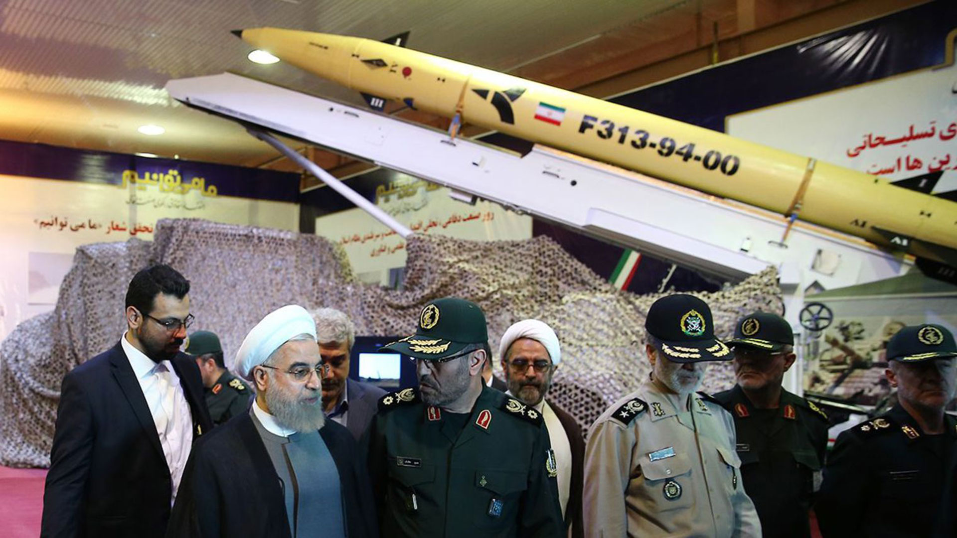 Hasan Rohani, durante la exhibición de los misiles persas