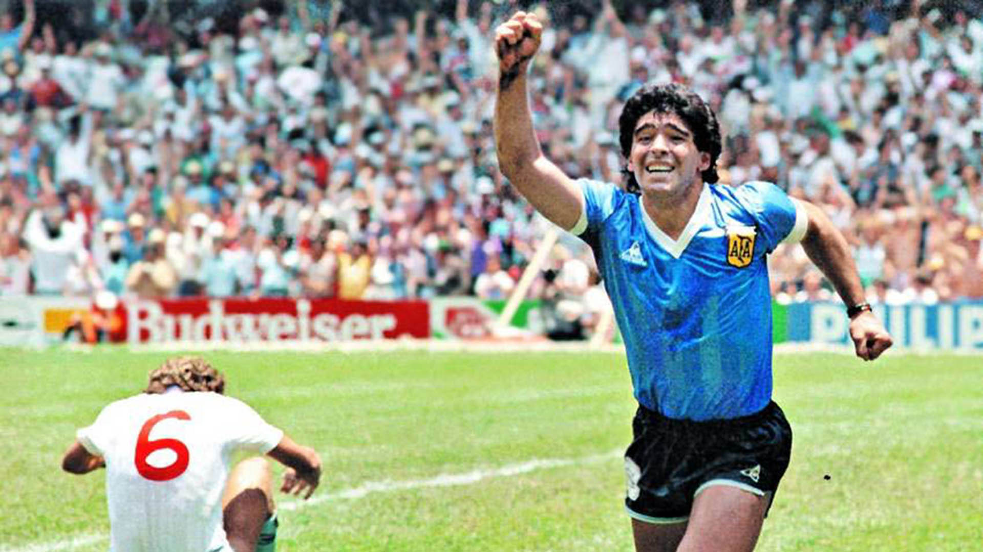 Maradona celebra el Gol del Siglo