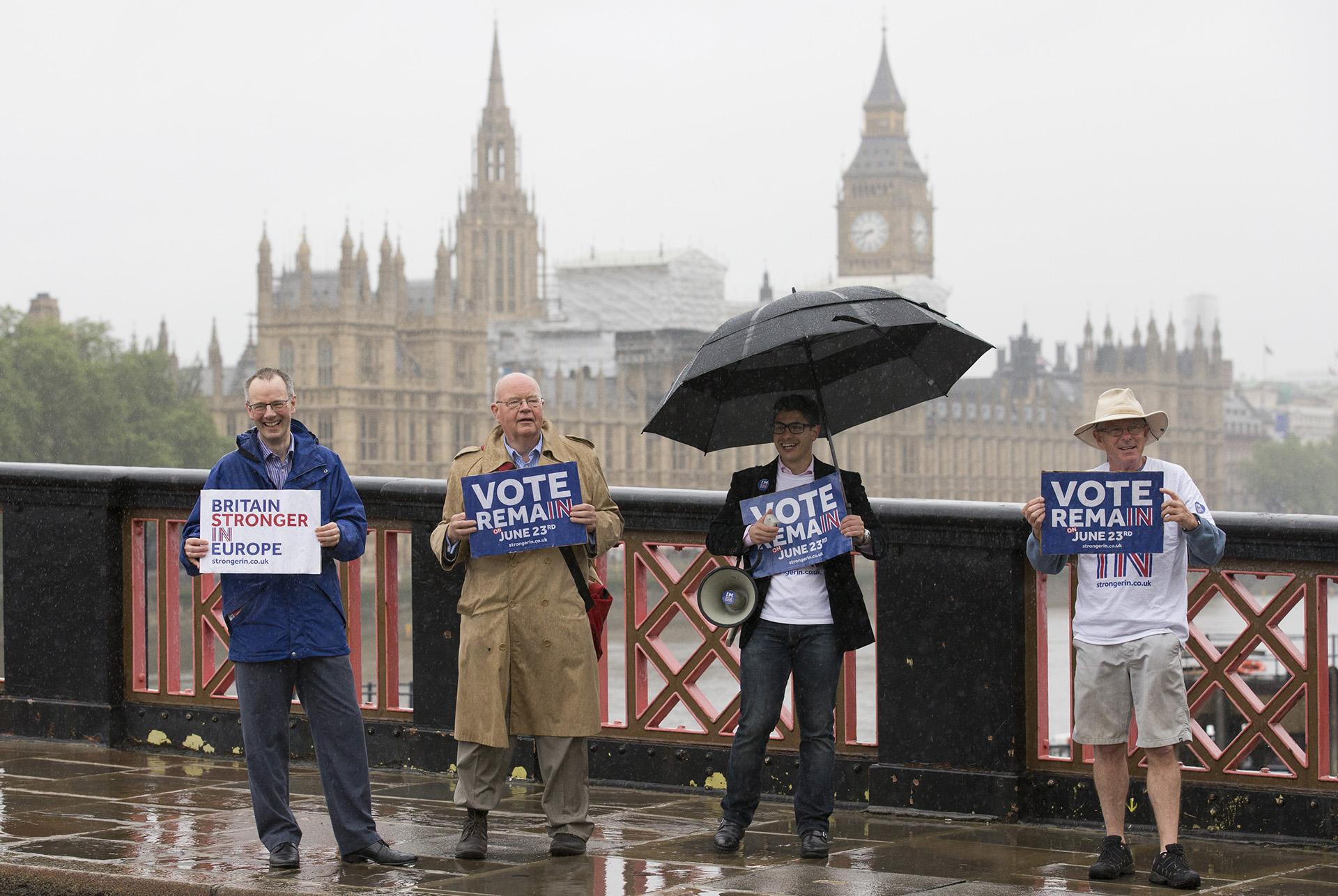 Manifestantes a favor del Remain en el histórico referendo británico