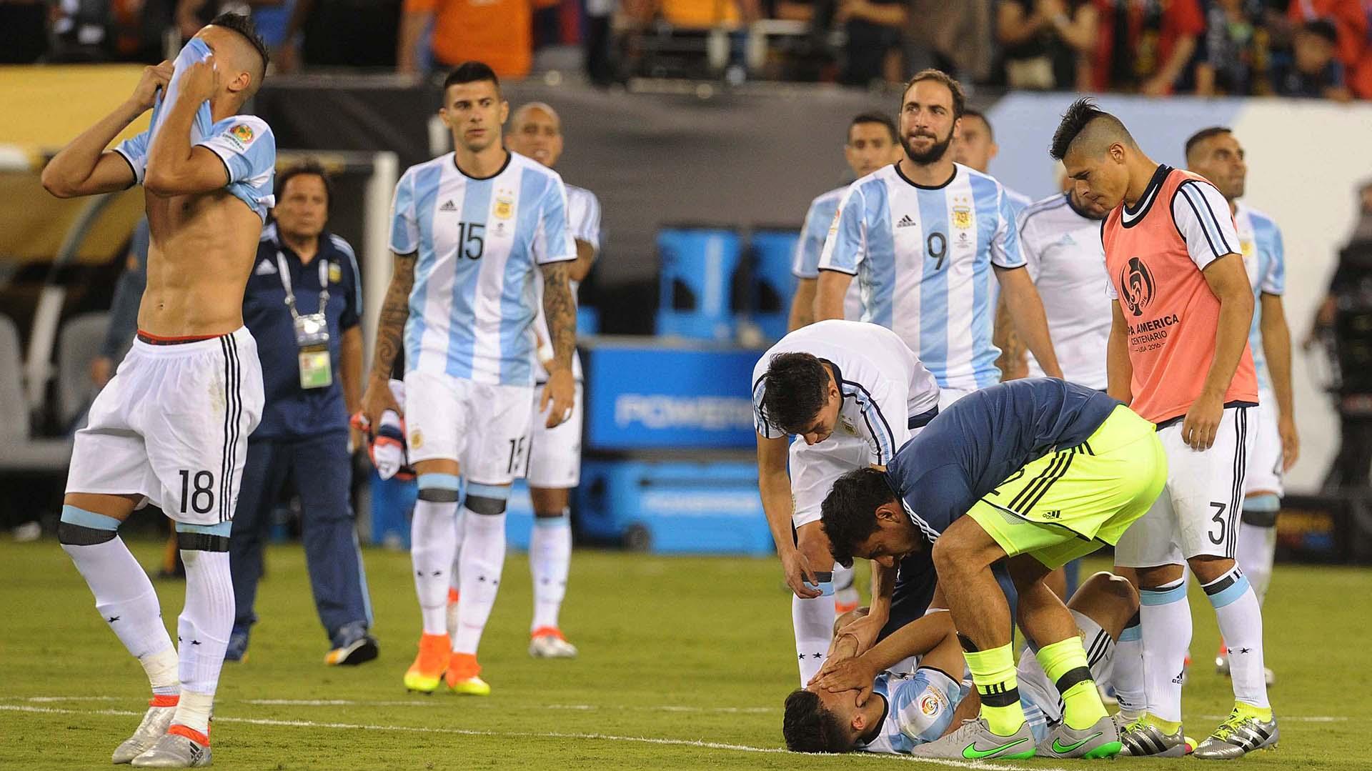 El desconsuelo de la Selección tras la derrota (Télam)
