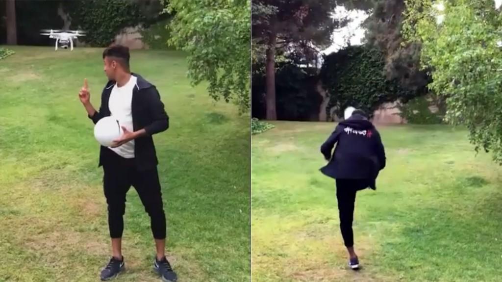 Neymar mostró sus habilidades en Twitter al derribar un drone de un pelotazo