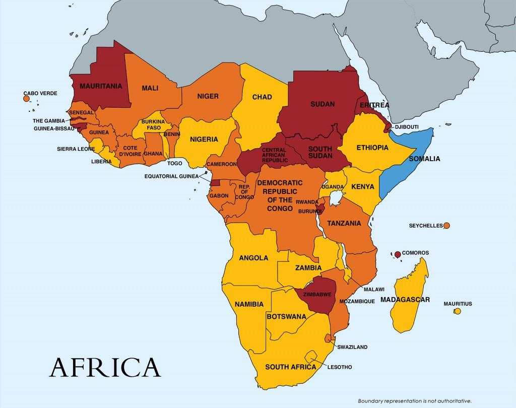 El mapa de la trata en África. En rojo: Mauritania, Sudán, Sudán del Sur, República Centroafricana, Zimbabue y Eritrea (están en el escalafón 3, el más grave). En amarillo y naranja, los que están en el escalafón 2, con distintos niveles de gravedad