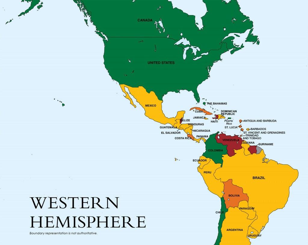 En rojo: Venezuela, Haití y Surinam. (Son los que están en el escalafón 3, el más grave). En amarillo y naranja, los que están en el escalafón 2, con distintos niveles de gravedad. En verde, los que están bien