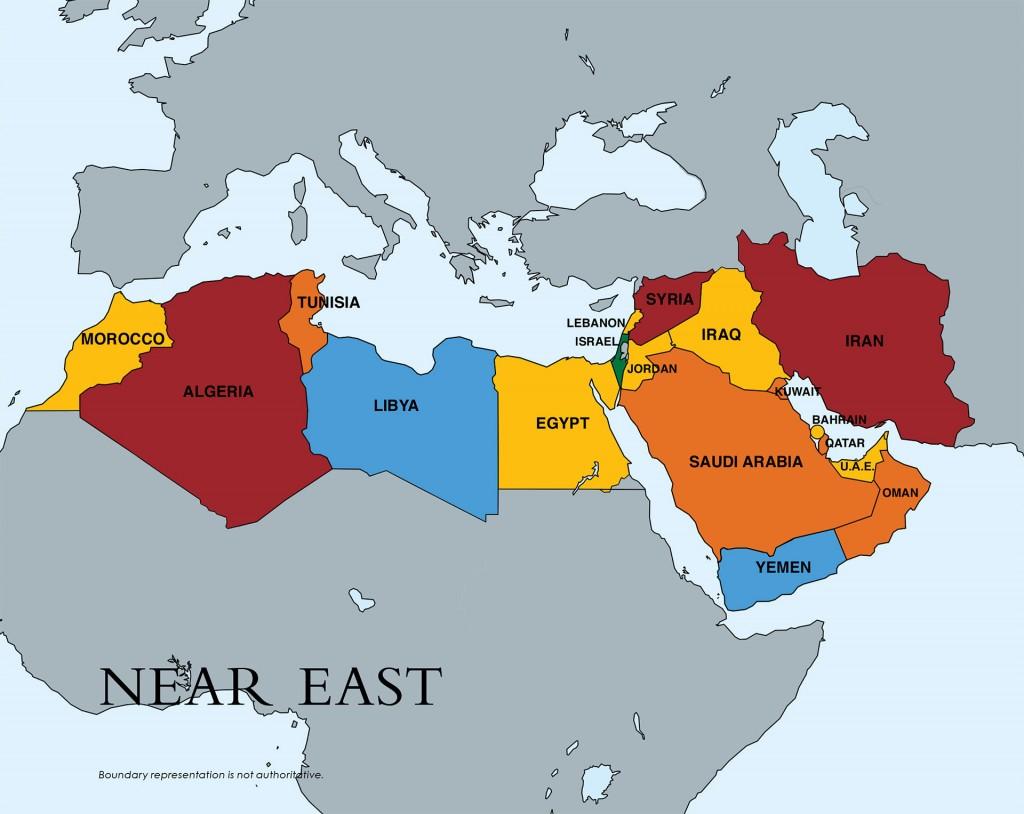 En rojo: Siria, Irán y Argelia. (Son los que están en el escalafón 3, el más grave).En amarillo y naranja, los que están en el escalafón 2 con distintos niveles de gravedad. En celeste: los casos especiales: Libia y Yemen.