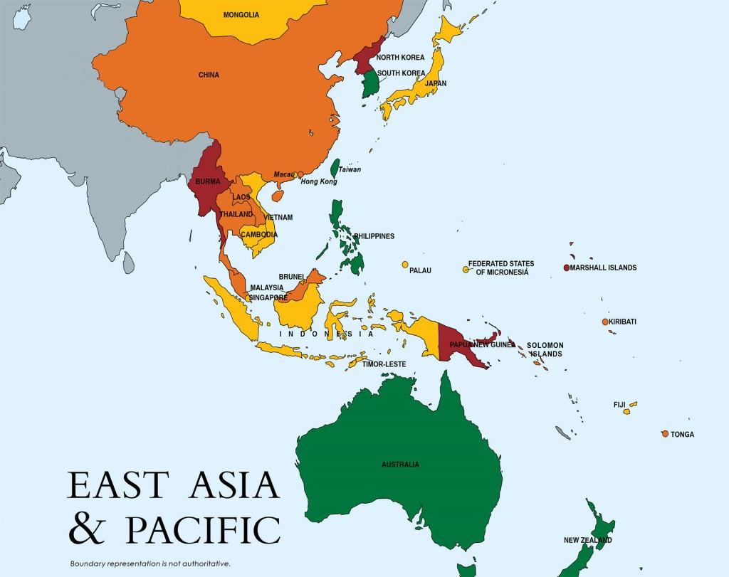 En rojo: Papúa Nueva Guinea y Birmania. (Son los que están en el escalafón 3, el más grave).En amarillo y naranja, los que están en el escalafón 2 con distintos niveles de gravedad. En verde los que están bien