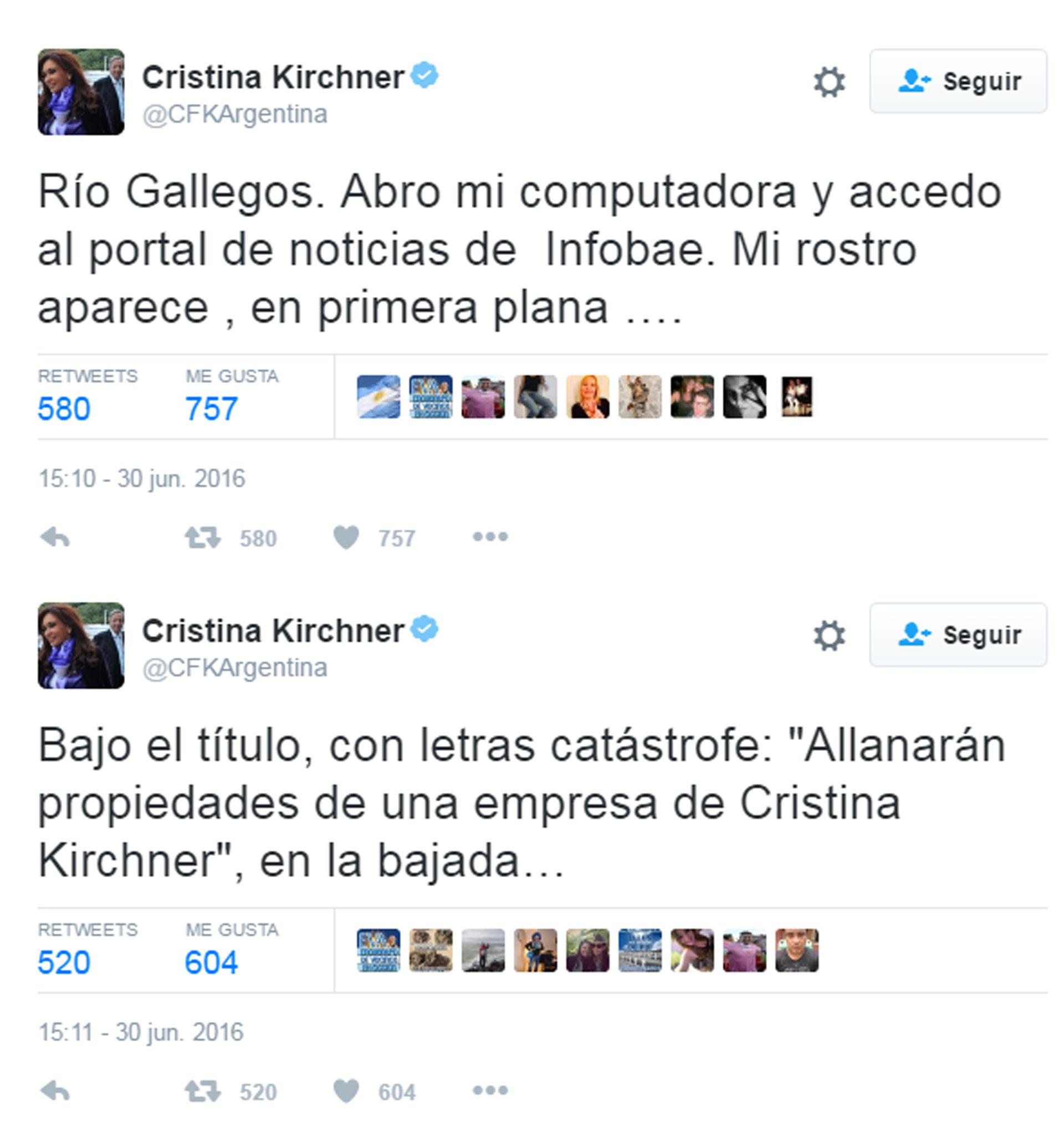 SF Tuits Cristina Kirchner Infobae