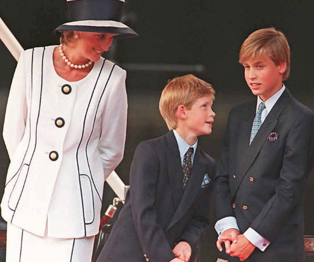 Lady Di y sus dos hijos: Harry y William