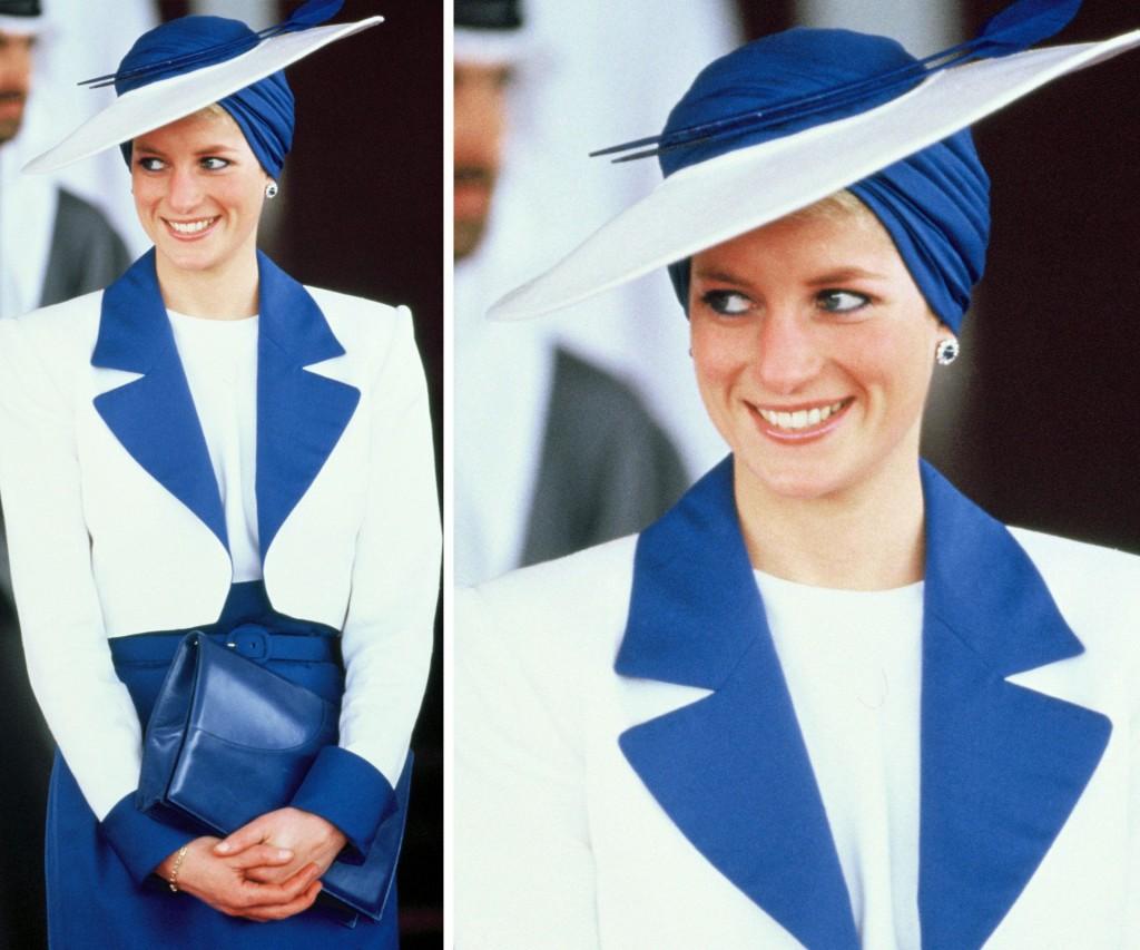 El color azul era uno de los favoritos de Lady Di. Sólo a ella este sombrero -turbante le quedaba espléndido