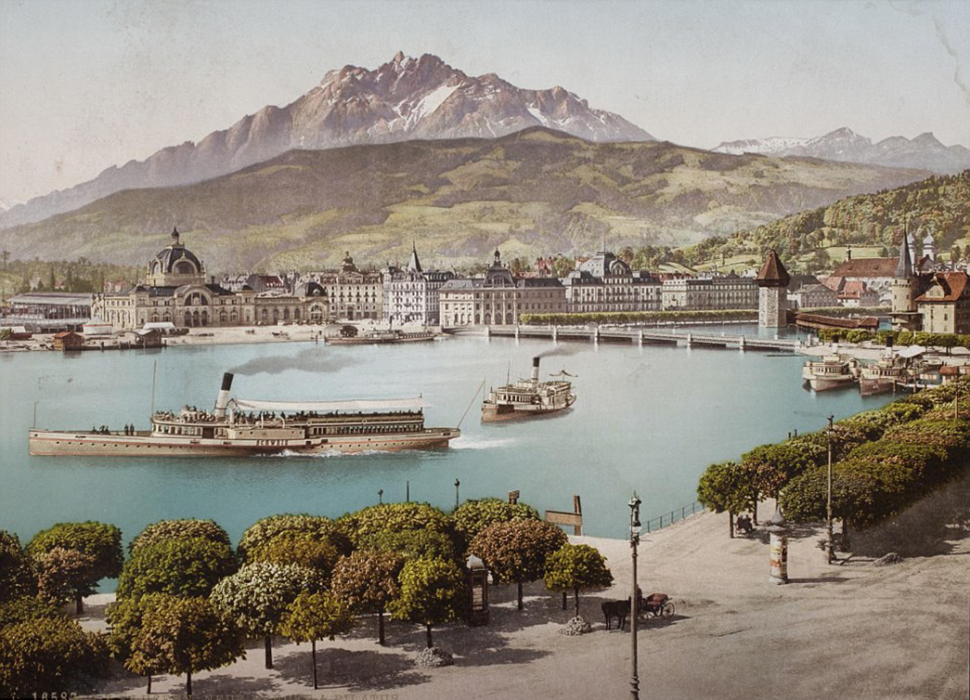 El cantón de Lucerna, en Suiza, en una imagen tomada entre 1889 y 1902