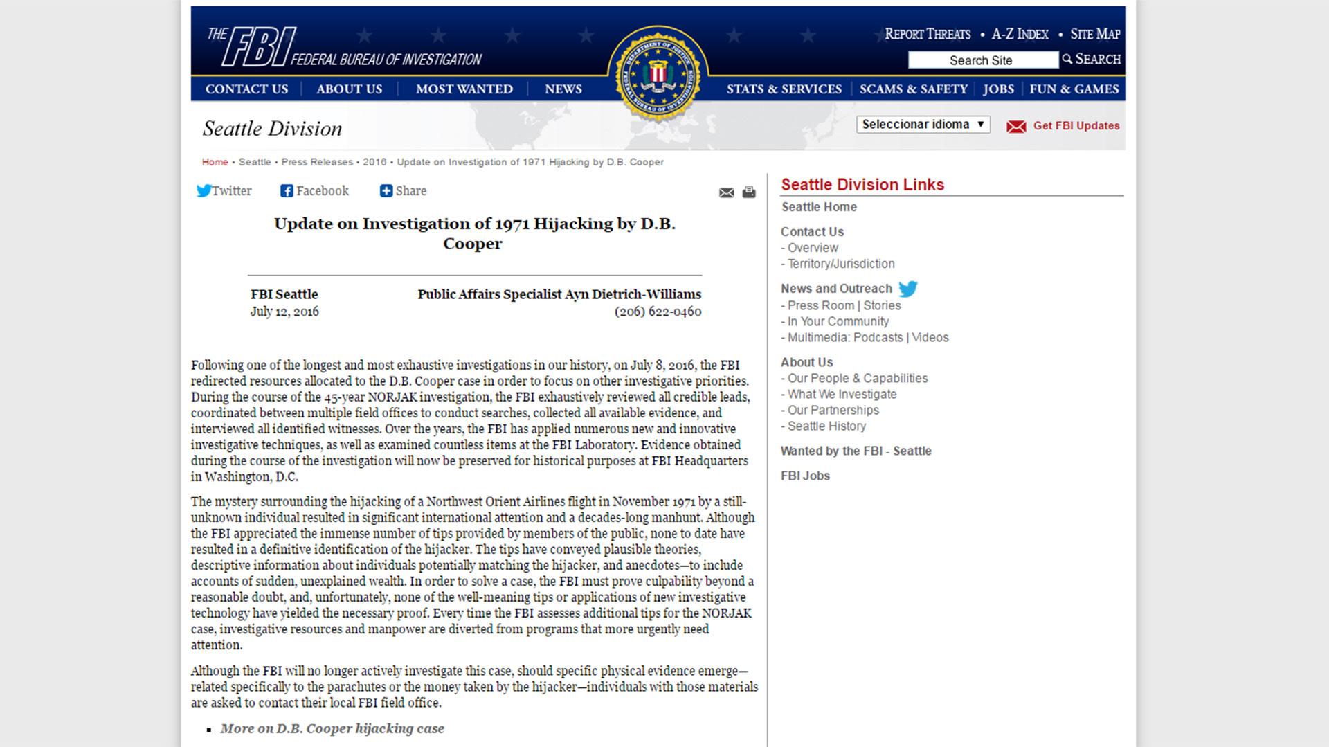El comunicado del FBI del 12 de julio de 2016