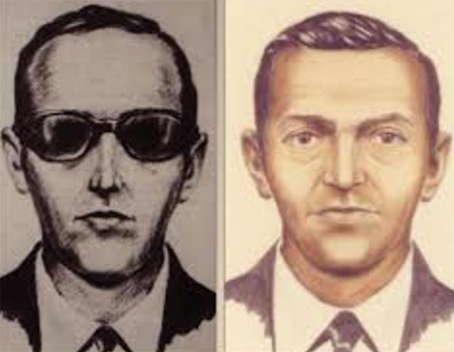 Los dibujos de D.B. Cooper que el FBI realizó sobre la base de los testigos del vuelo 305 de Northwest Airlines (FBI)