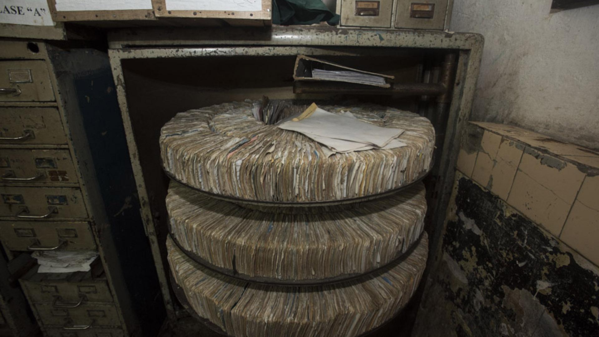 El arcaico sistema de ficheros del penal platense.