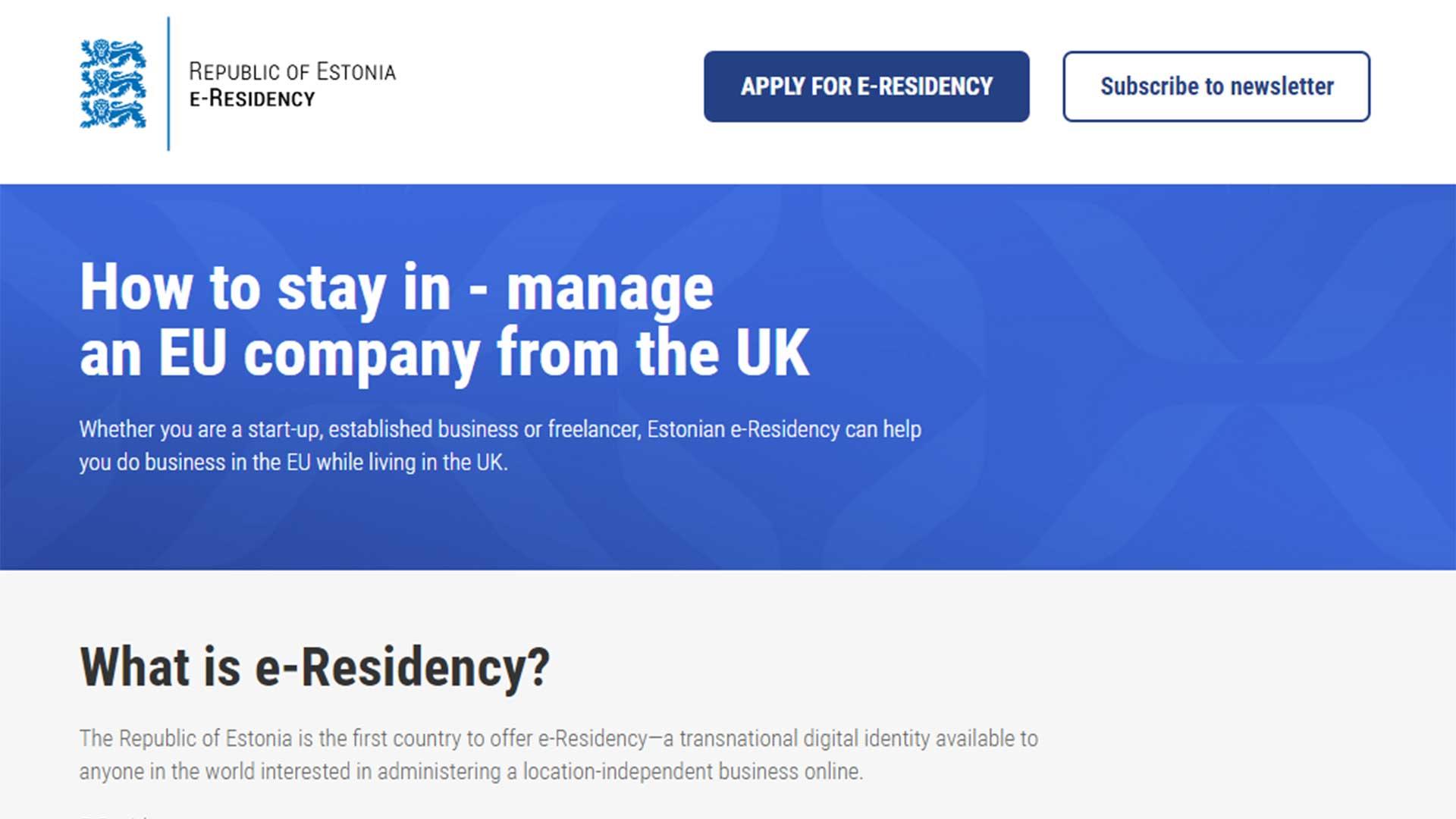 La nuevo web del programa de e-residency estonio, dirigida a los británicos