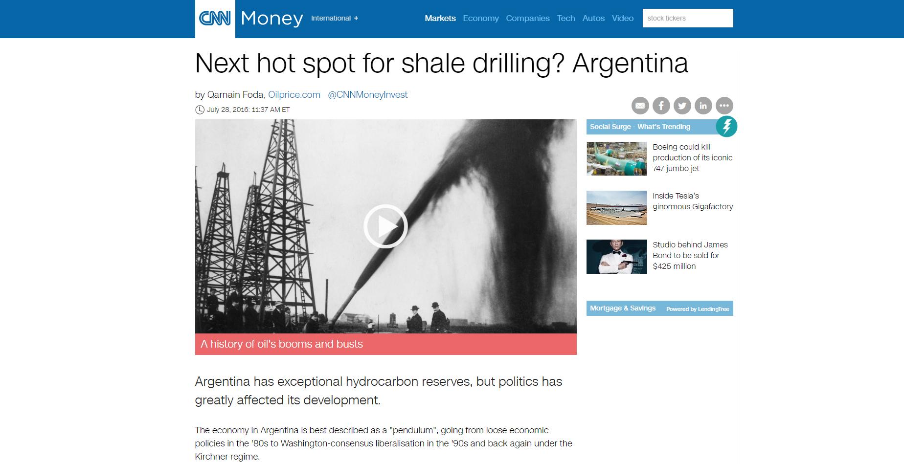 CNN Money destacó las posibilidades de la Argentina para las perforaciones de shale