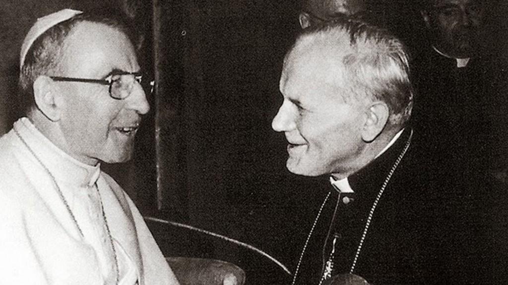 Karol Wojtyla con Albino Luciani (Juan Pablo I) a quien sucedió (1978)
