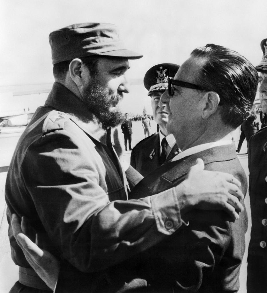 Encuentro con el presidente chileno Salvador Allende. 10 de noviembre de 1971 (AFP)