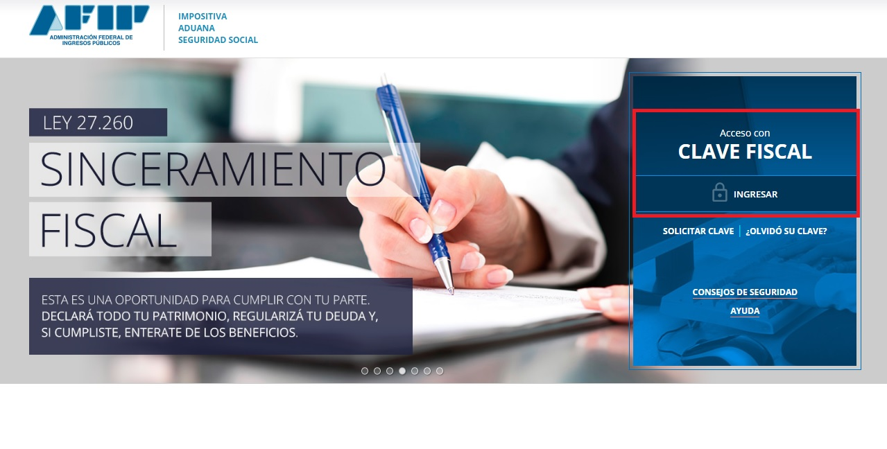 Captura web AFIP SF 1
