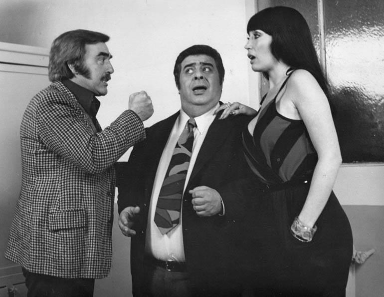 Fernando Siro, Jorge Porcel y Moria Casán en el film Te rompo el rating