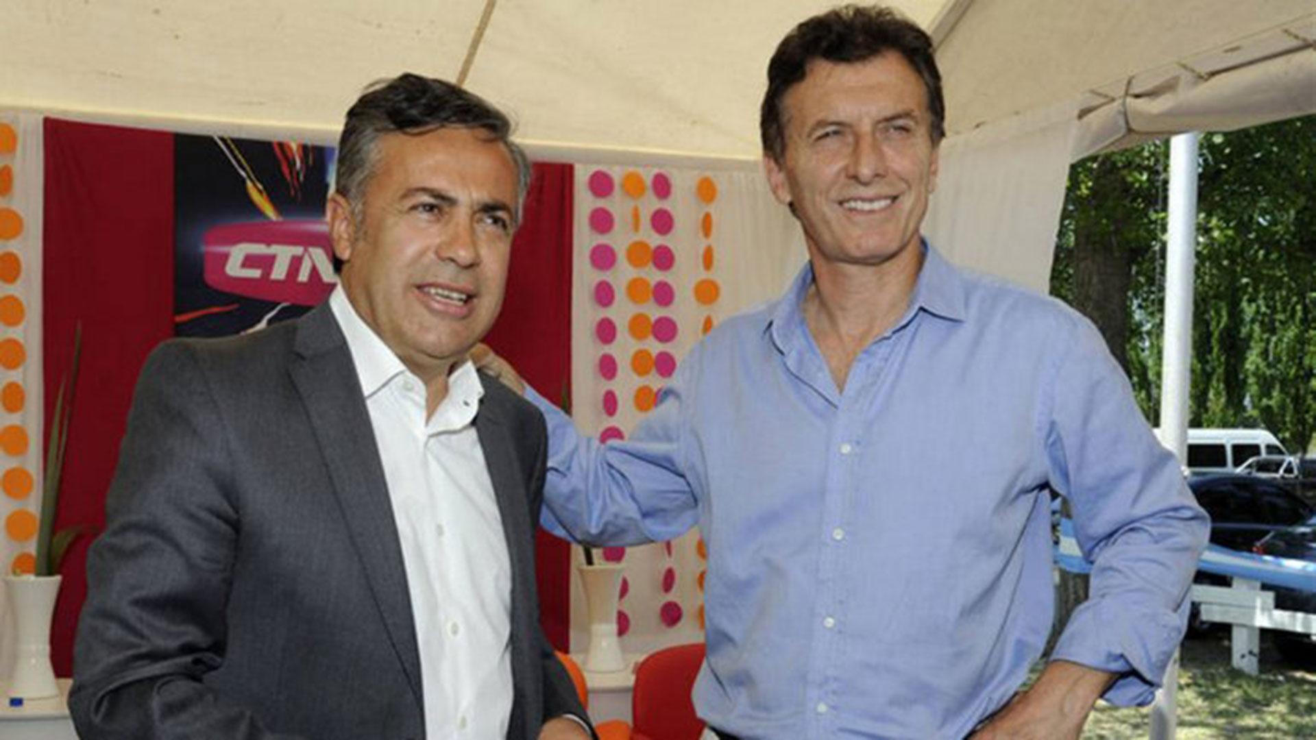 Macri y Cornejo cuando eran candidatos. Ayer se vieron ayer, pero no hubo foto. Es