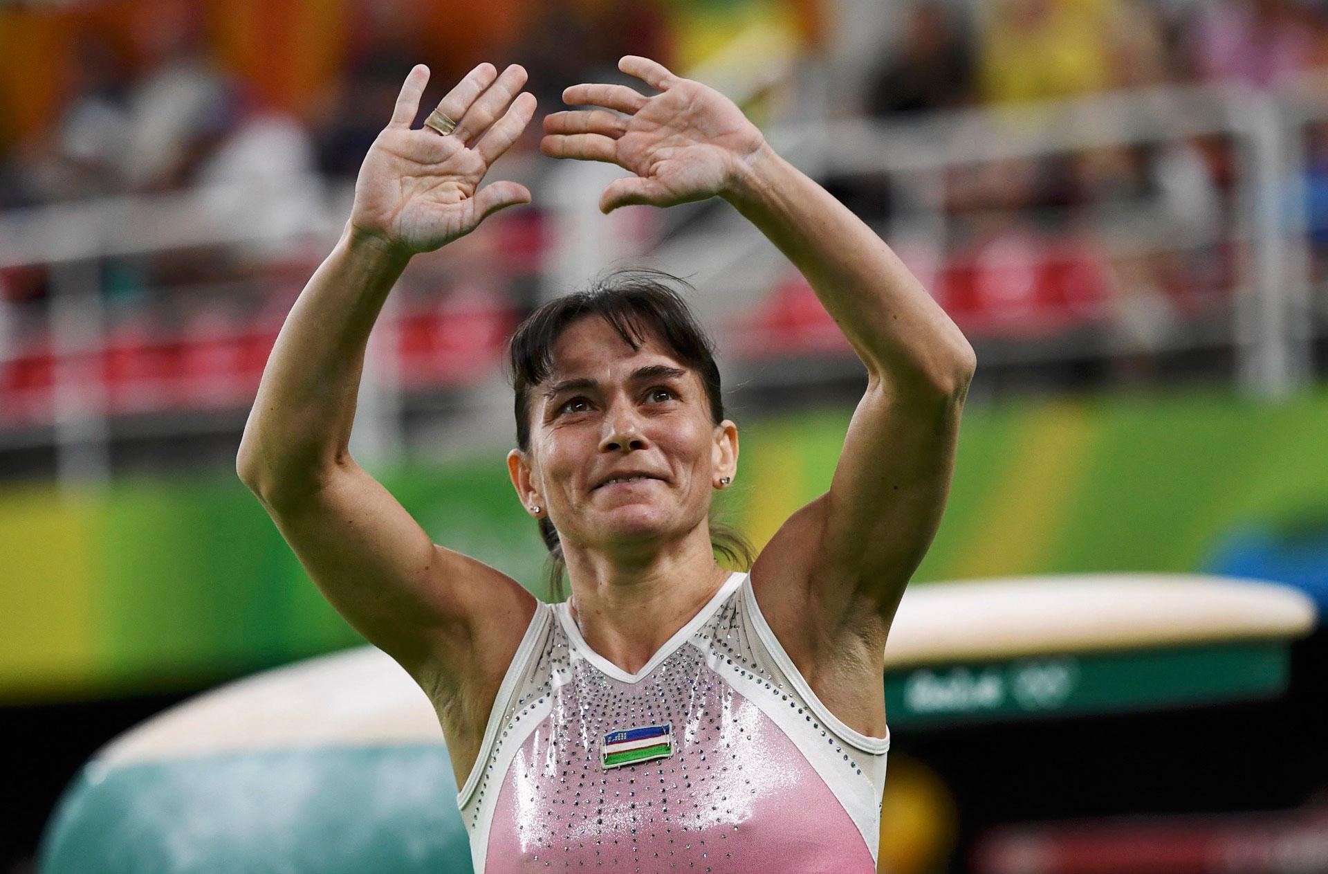 La gimnasta uzbeka Oksana Chusovitina no ganó medallas pero, a los 41 años, participó de sus séptimos Juegos Olímpicos (Reuters)