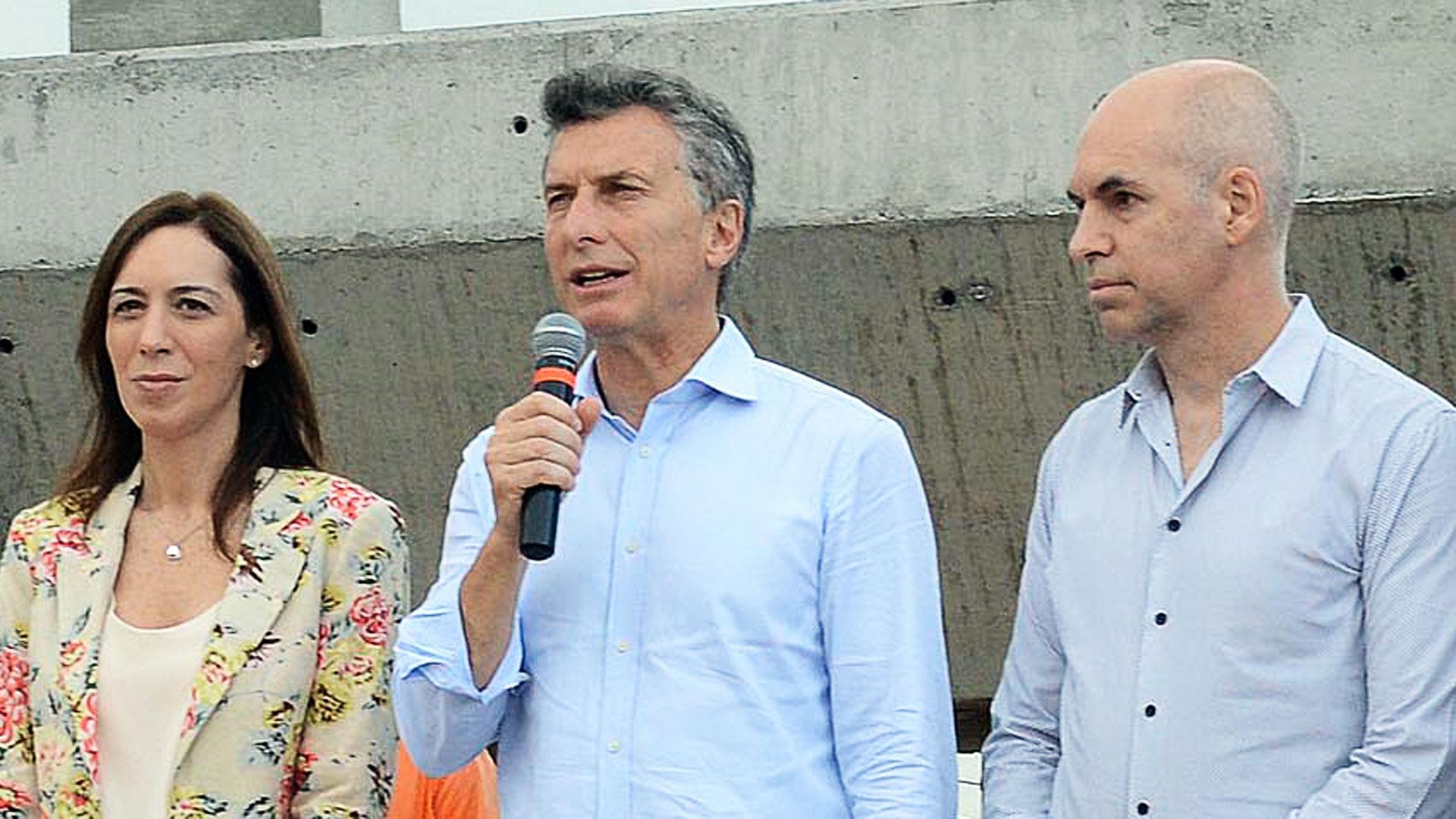 Maria Eugenia Vidal, Mauricio Macri y Rodriguez Larreta (NA)