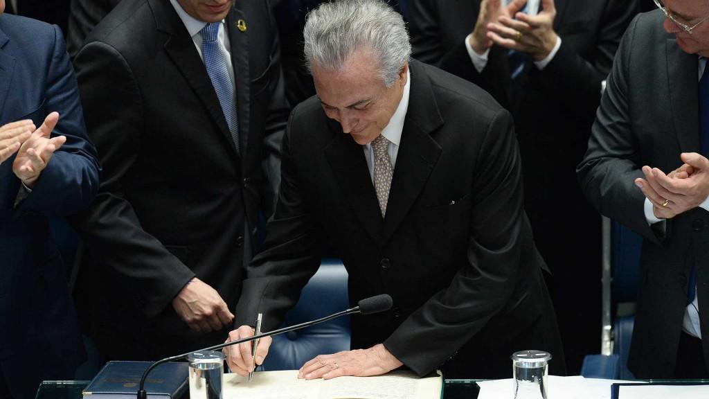 El presidente de Brasil, Michel Temer, el día de su asunción (AFP)