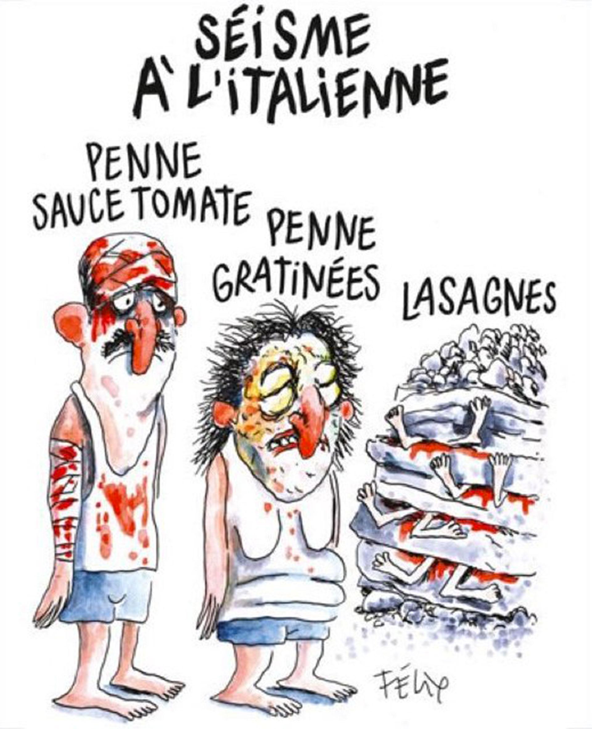 Otro de los dibujos de Charlie Hebdo que generaron fuertes críticas, en ocasión del mortal sismo ocurrido en Italia en 2016