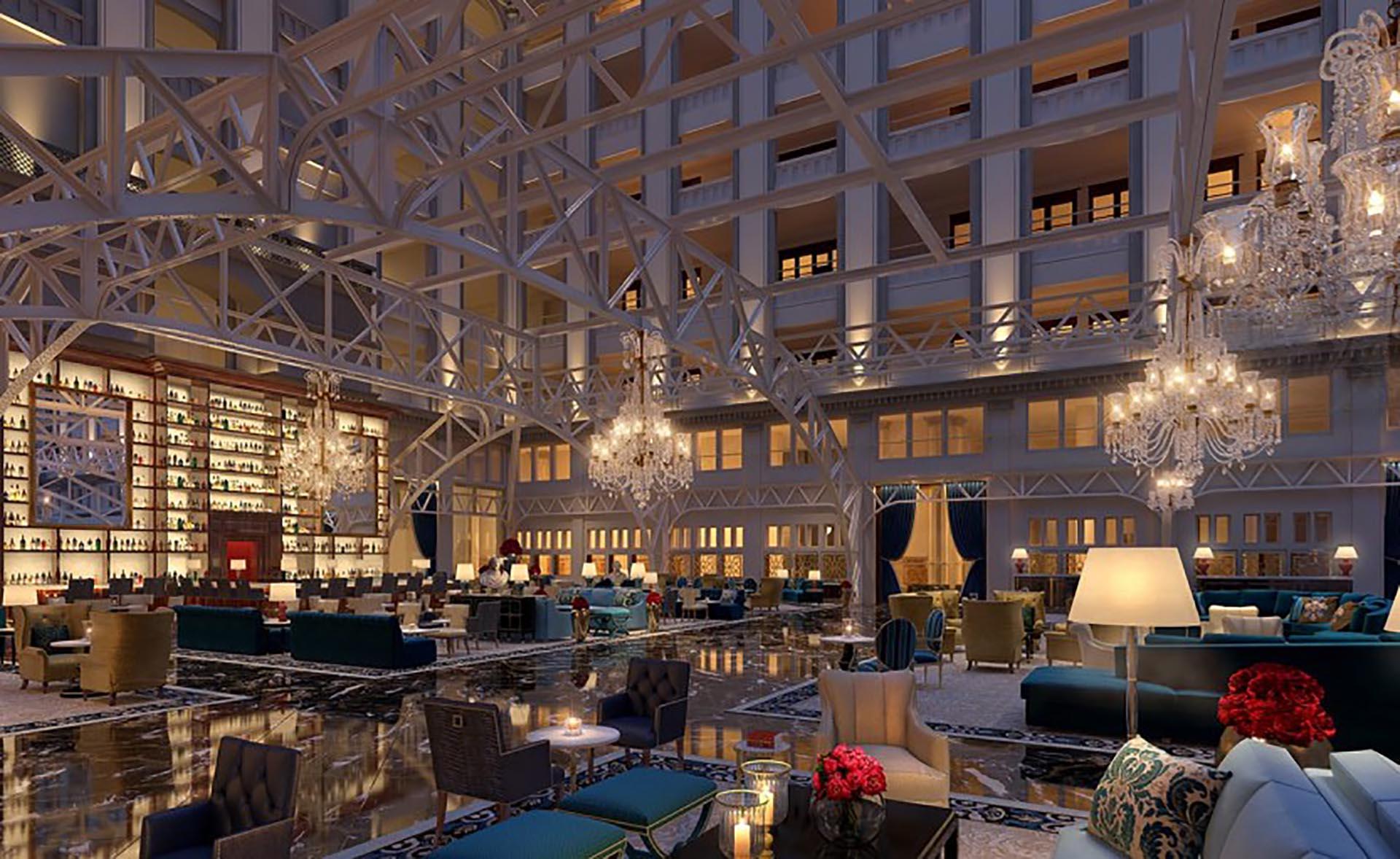 The Grand Lobby. Con este espacio se encuentra uno al arribar al nuevo hotel de Donald Trump en la capital de los Estados Unidos