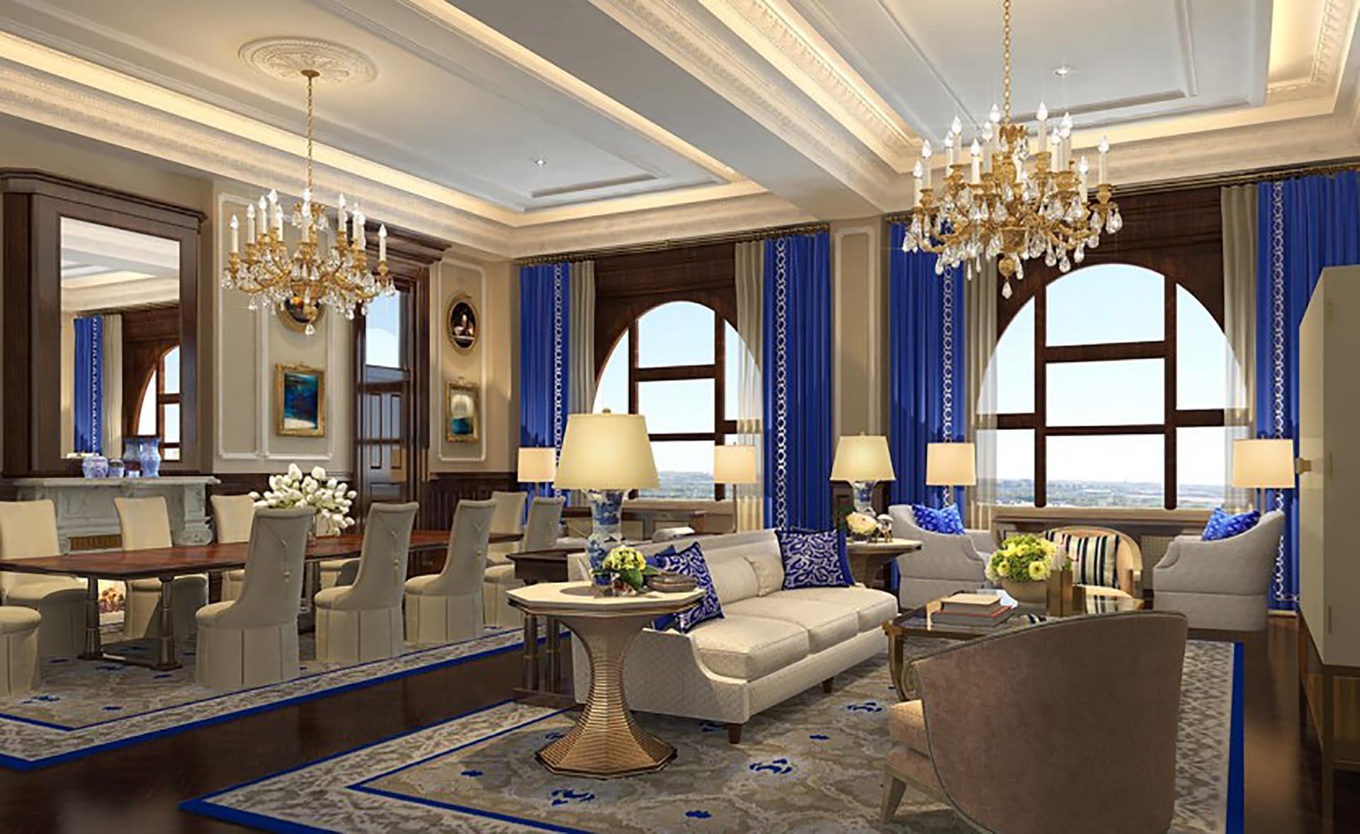 Una de las salas de la Suite Presidencial del Trump International Hotel en DC