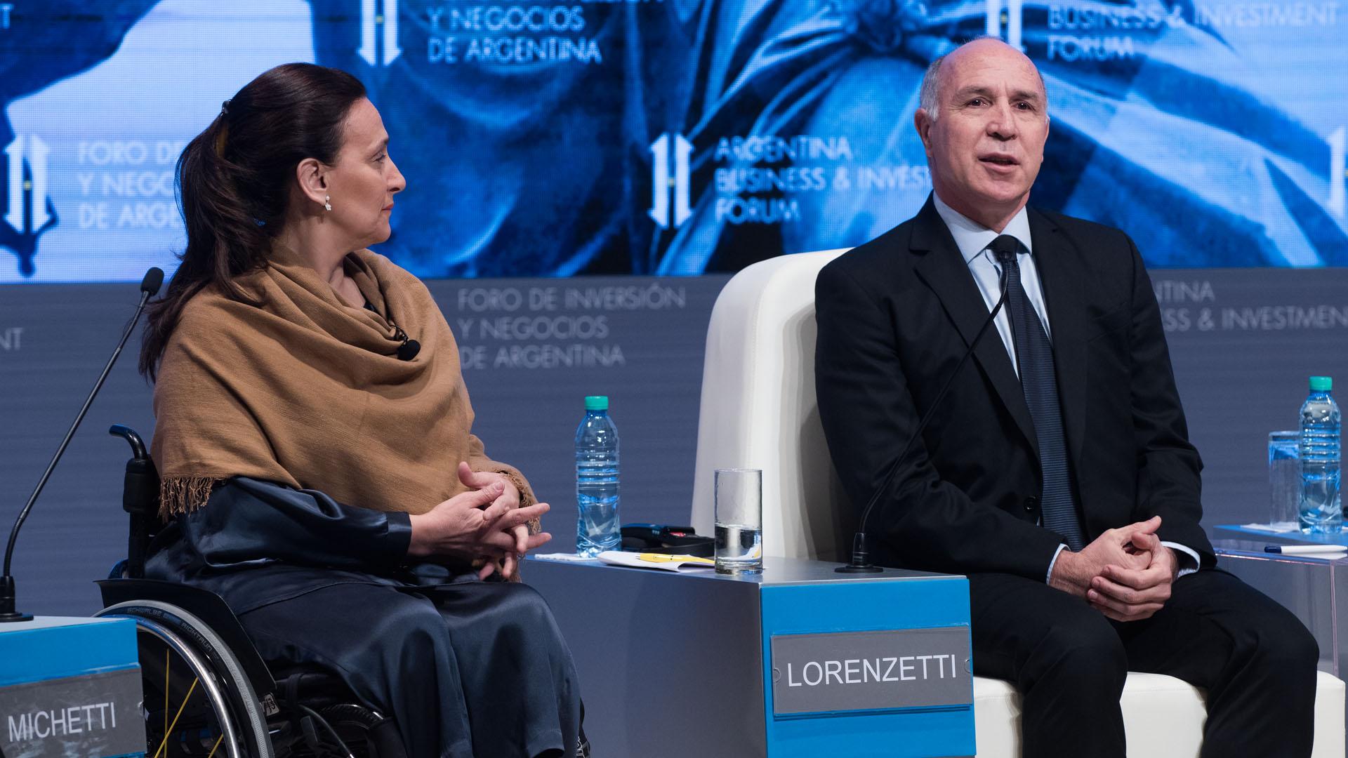 La vicepresidente Gabriela Michetti y el presidente de la Corte Suprema de Justicia, Ricardo Lorenzetti