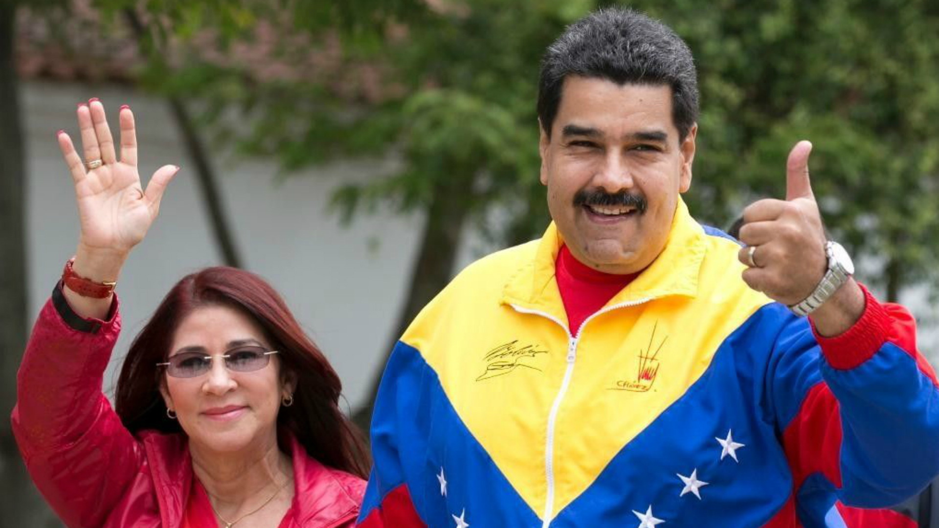 Nicolás Maduro junto a su esposa, Cilia Flores (AP)