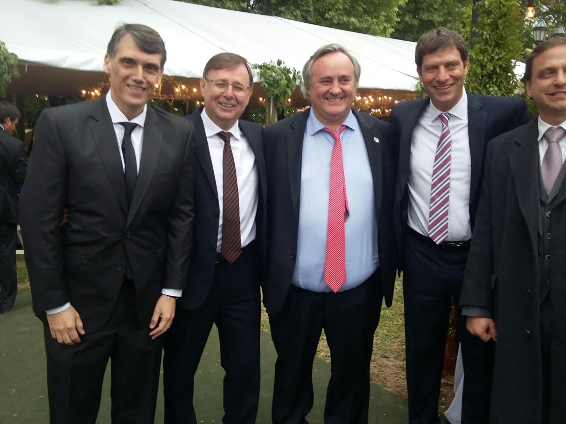 Los diputados Pablo Kosiner, Oscar Romero, el ministro de Producción bonaerense Joaquín de la Torre y el diputado Javier David