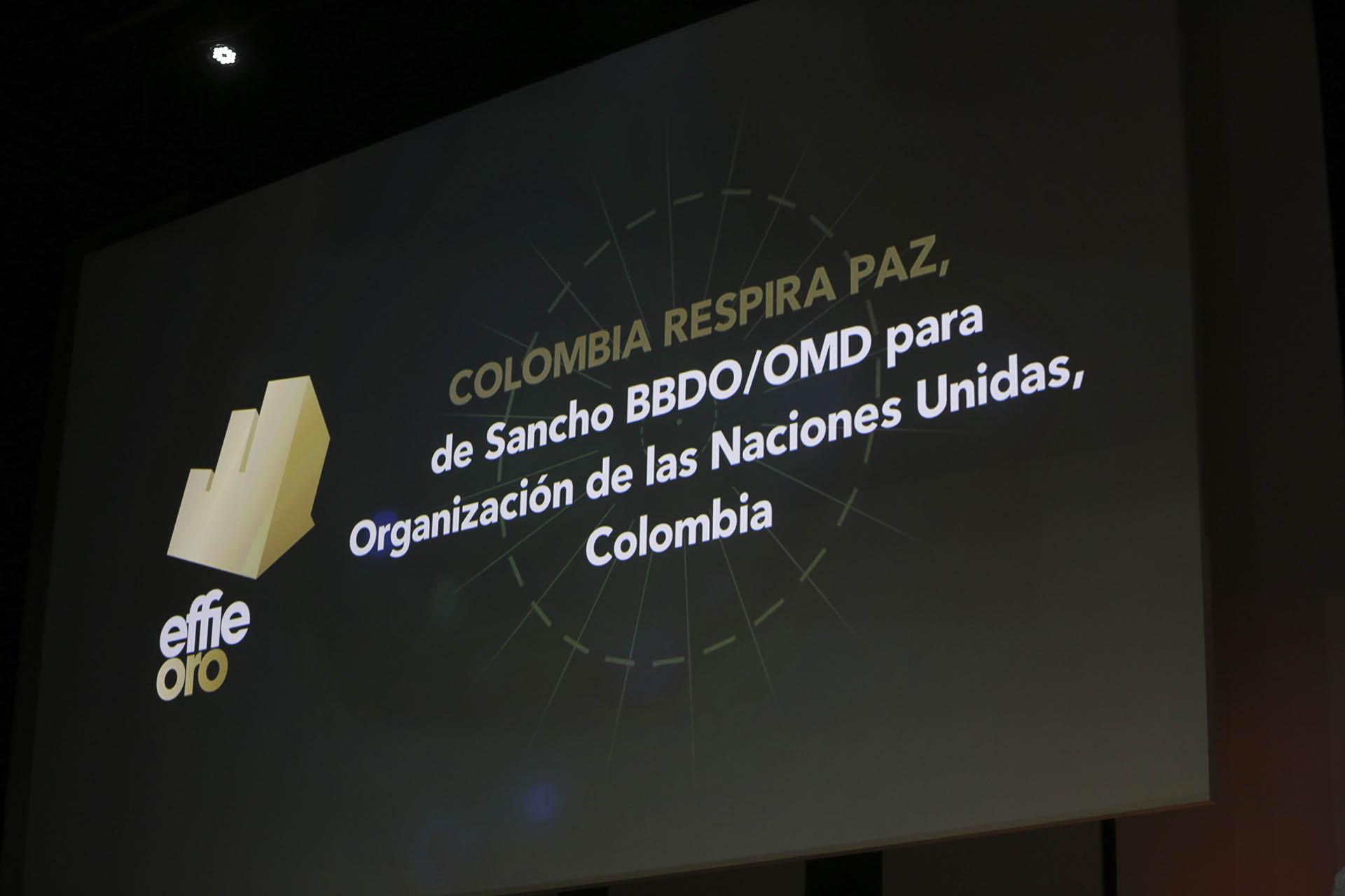"""El premio Effie de Oro en la categoría Gobierno, fue para """"Colombia Respira Paz"""", de Sancho BBDO/OMD para Organización de las Naciones Unidas, Colombia"""