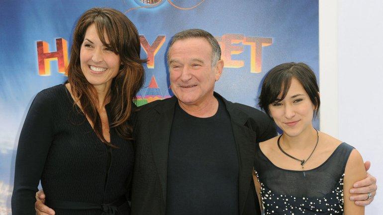 Robin Williams con su esposa e hija Zelda