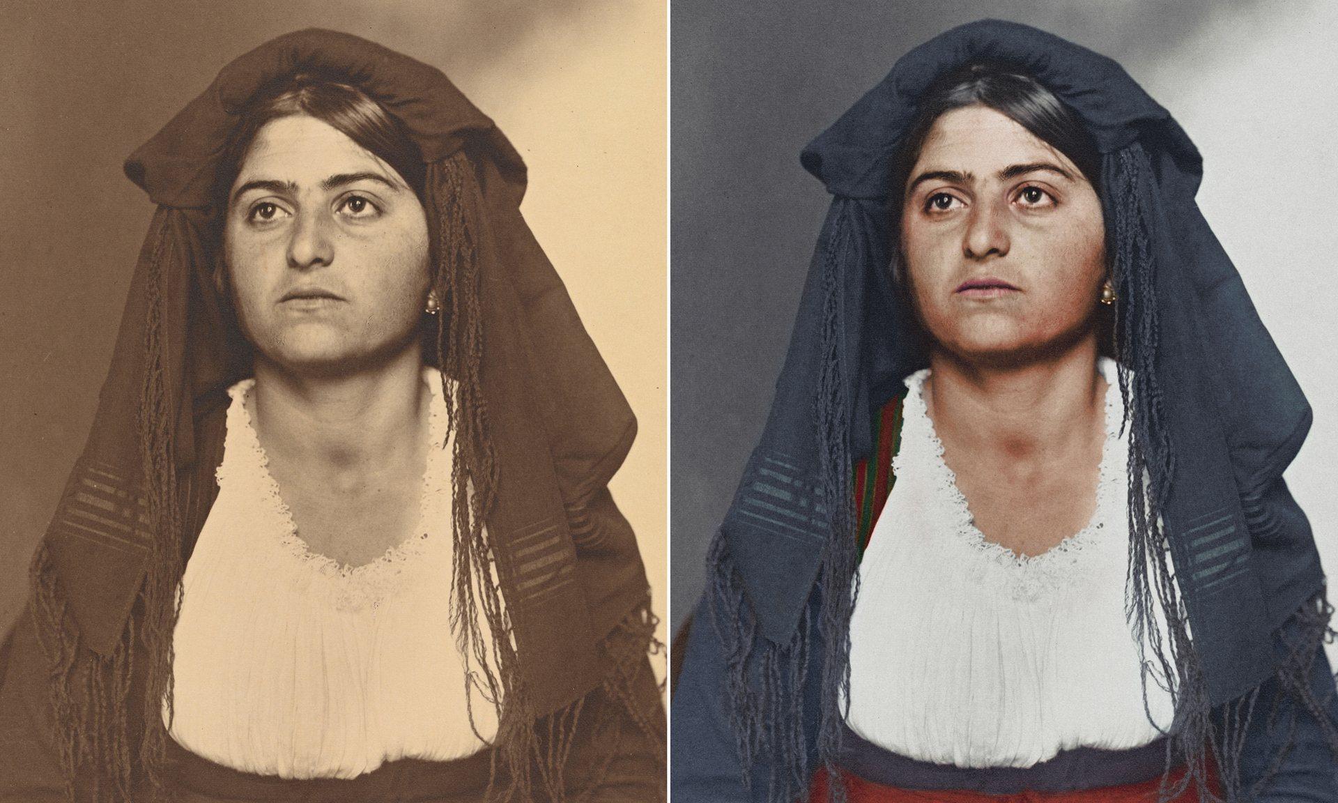 Una mujer italiana alrededor de 1910 que lleva un vestido de casa tradicional y chal