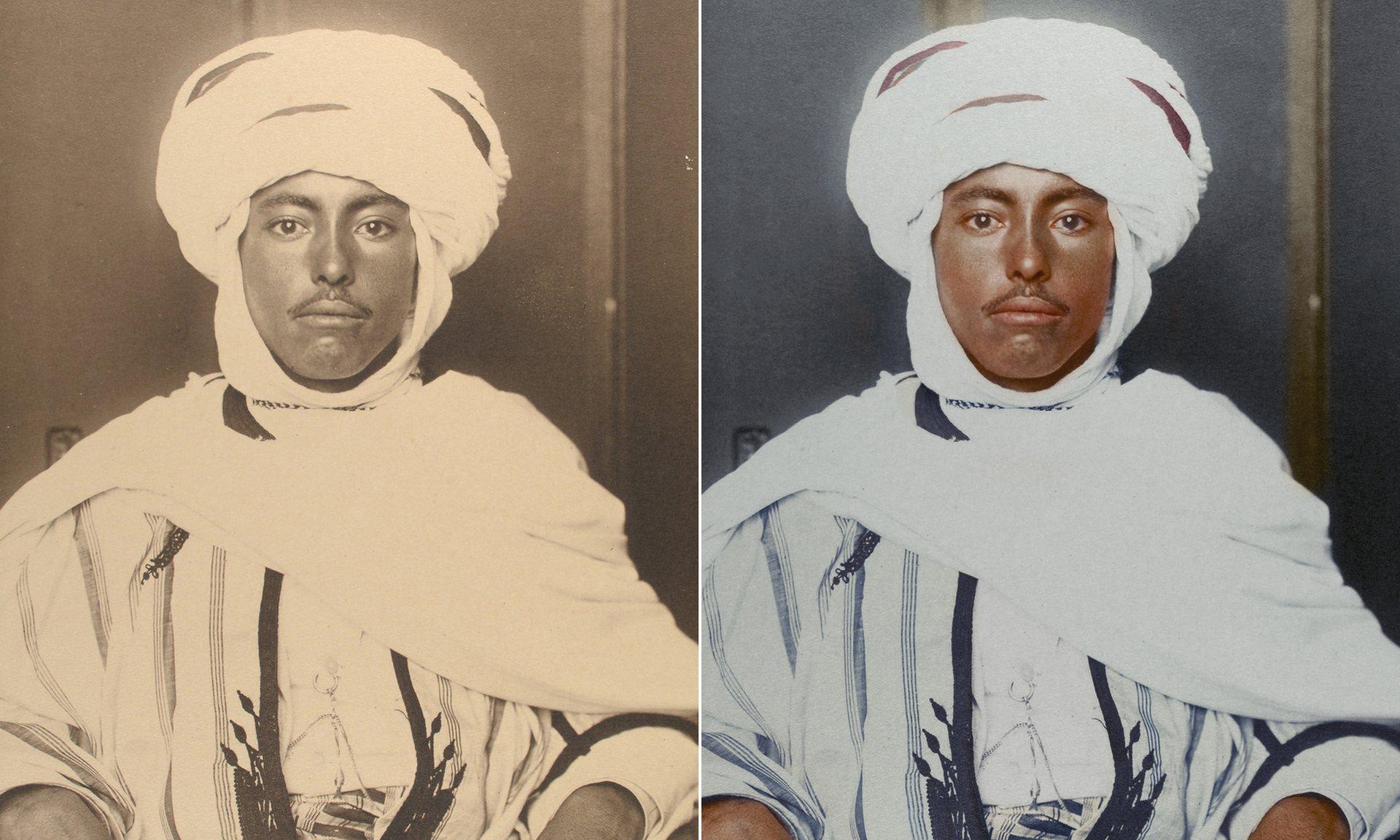 Un argelino alrededor de 1910 con una túnica caftán y un Kufiya, que es un cuadrado de tela doblada en forma de triángulo y se mantiene en la cabeza por una diadema de pelo de camello